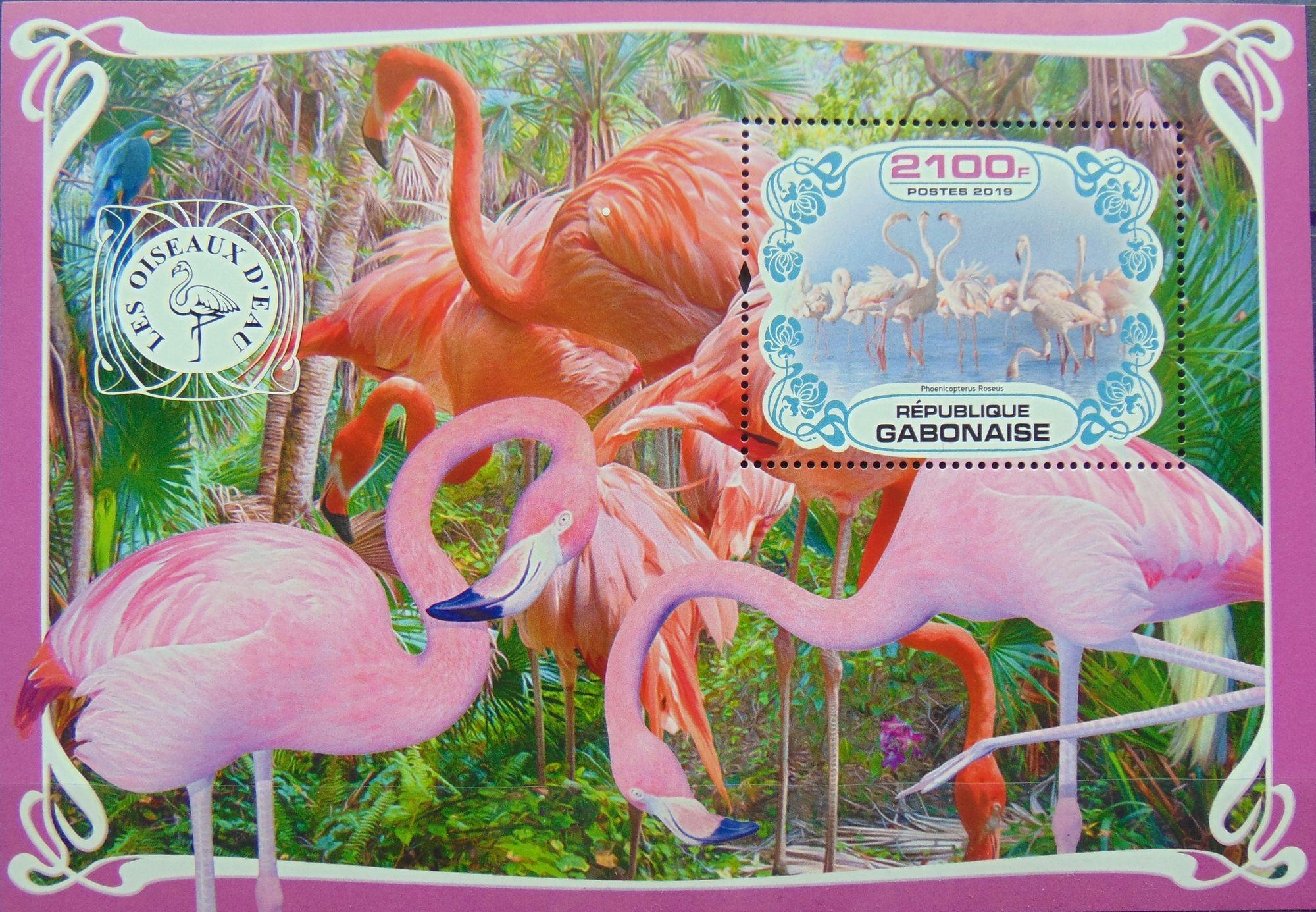 Купить Flamingi ptaki wodne Gabon blok #VG2736 на Otpravka - цены и фото - доставка из Польши и стран Европы в Украину.