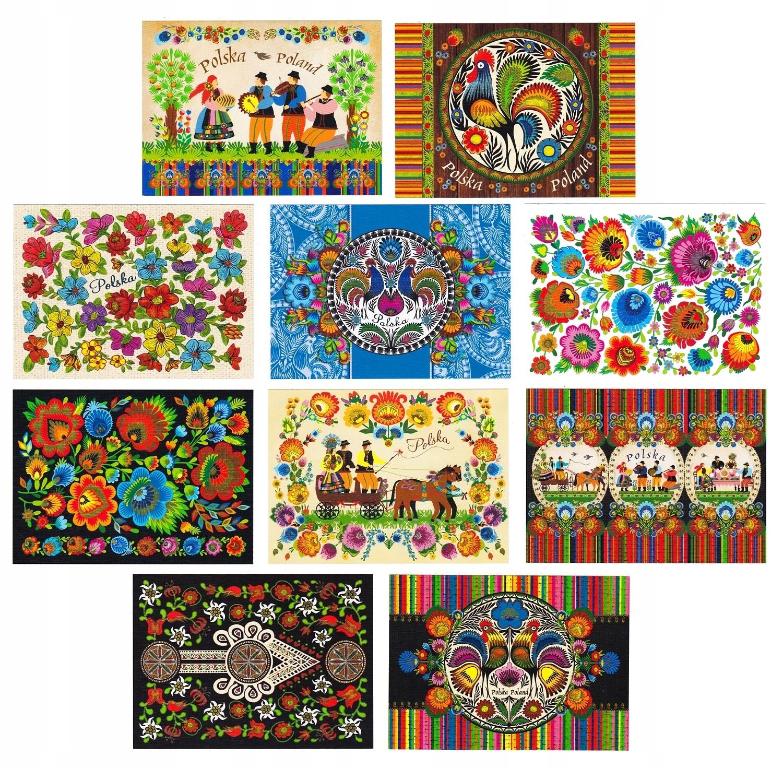 POLSKA folklor sztuka ludowa pocztówki 10 szt