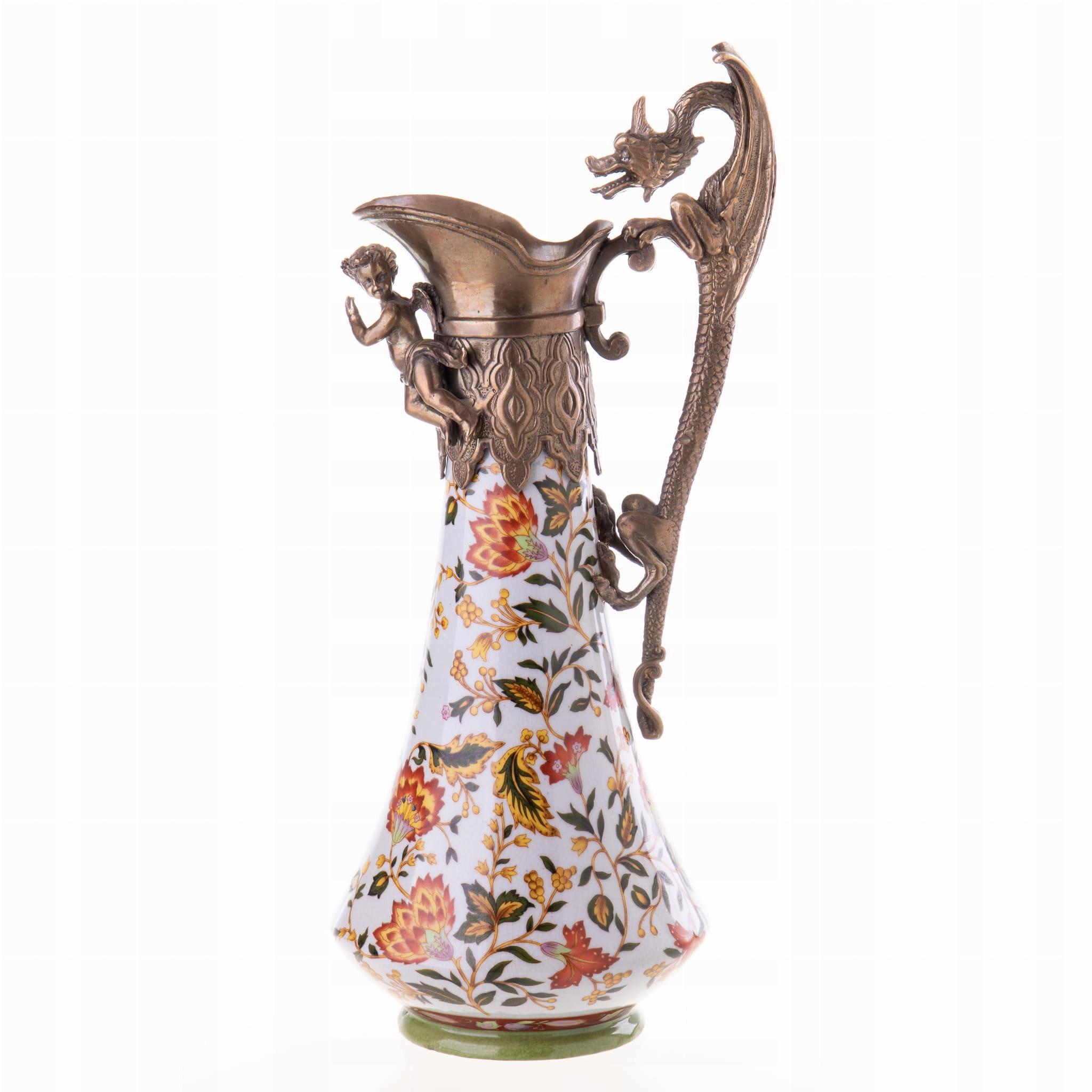 Porcelánová karafa s bronzovo bielou Retro Craquelé