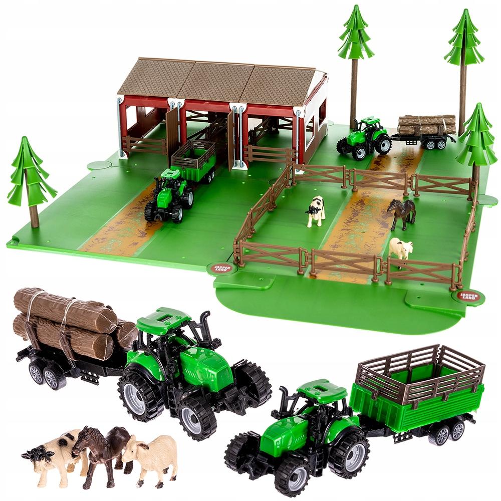 Duża Farma Zagroda Zwierzątka Traktor x2 Przyczepa