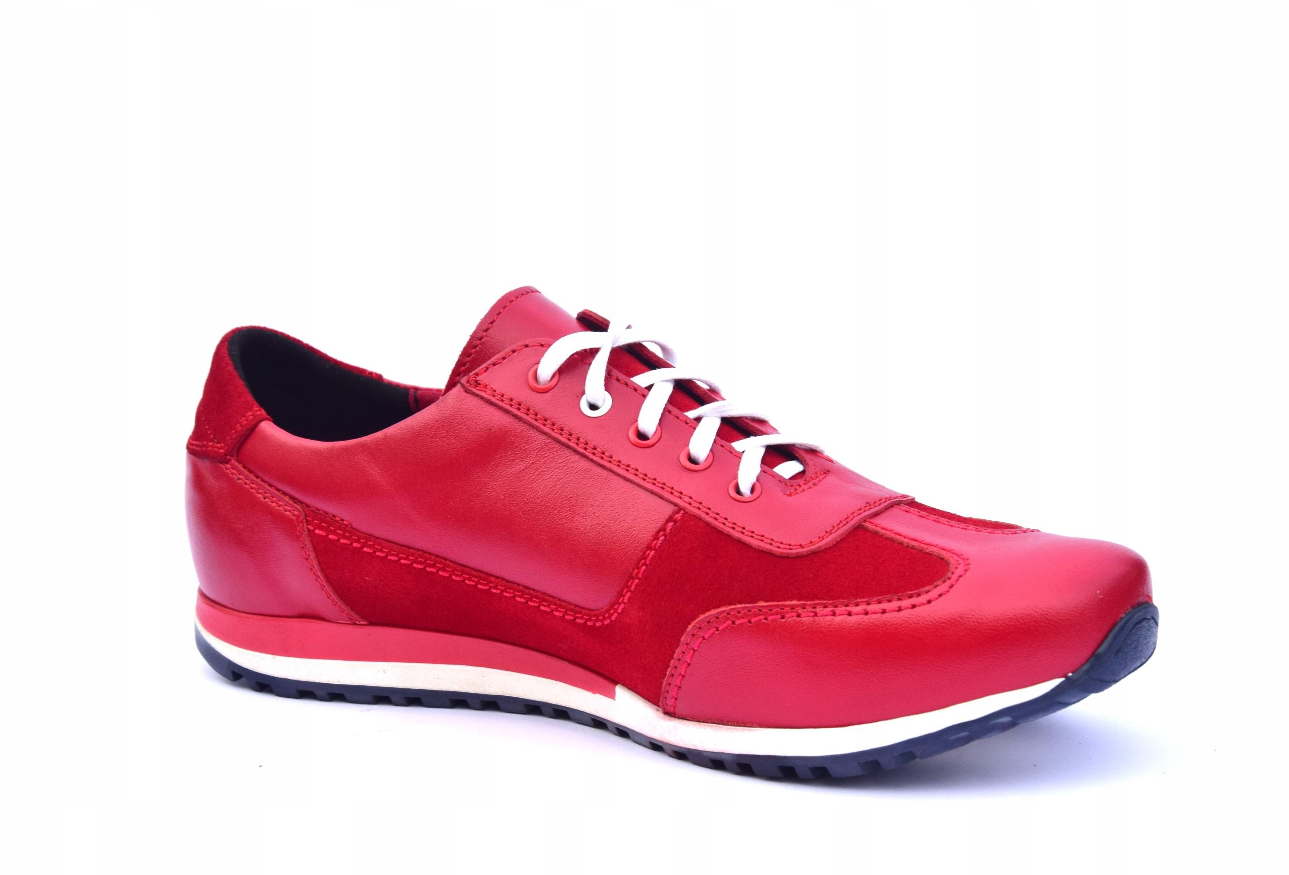 Buty skórzane czerwone obuwie ze skóry PL 294 Waga produktu z opakowaniem jednostkowym 2 kg