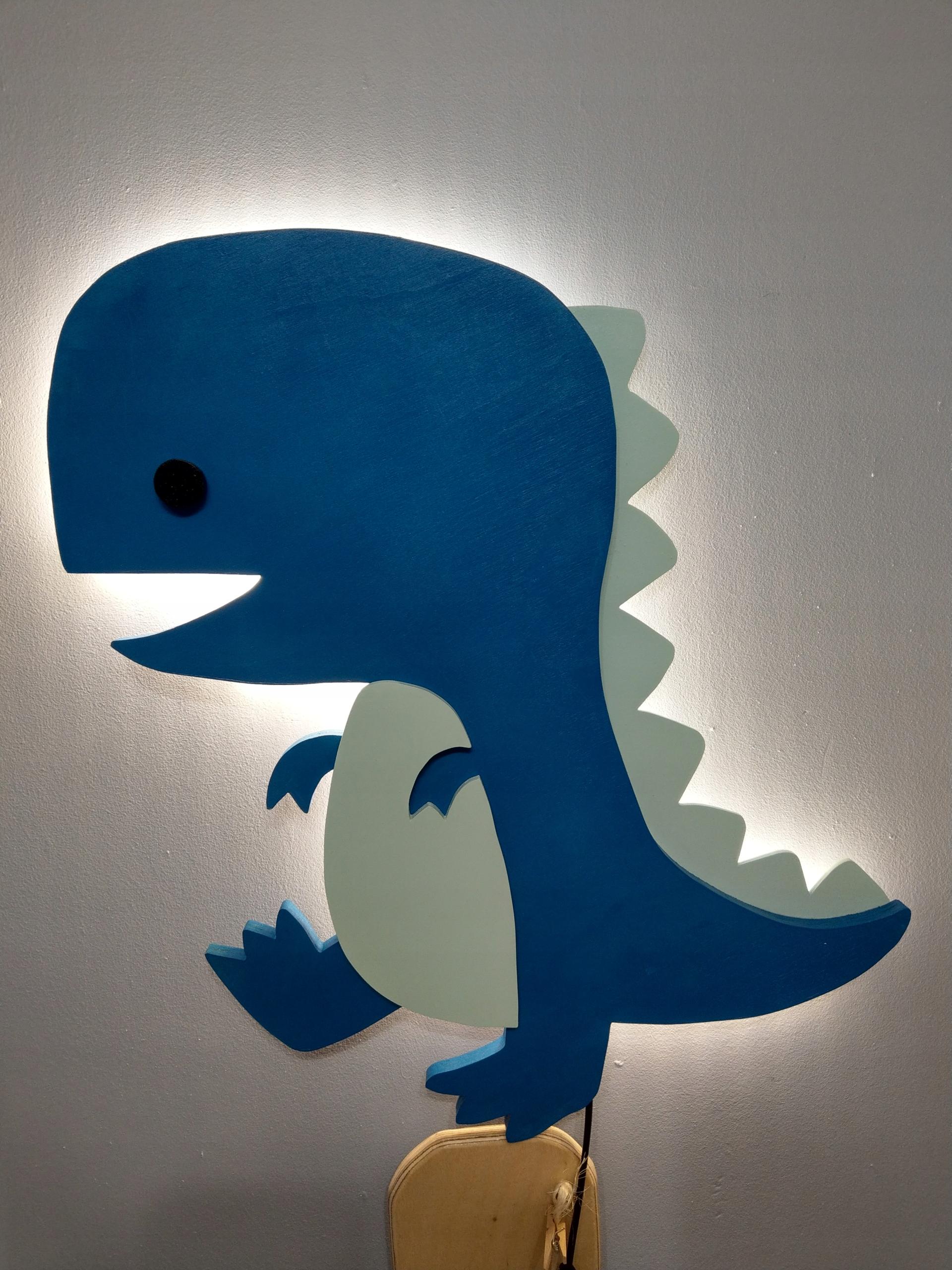 lampka nocna dinozaur T-rex LED drewniana