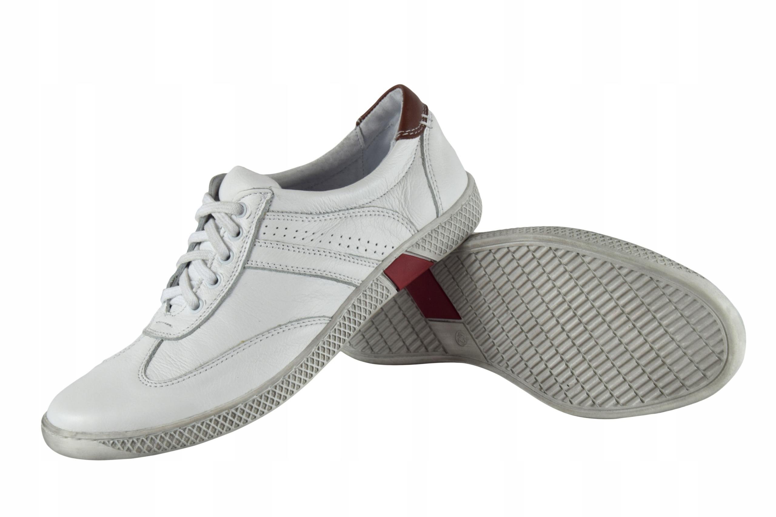 Skórzane męskie białe sznurowane buty męskie 0446 Rozmiar 44