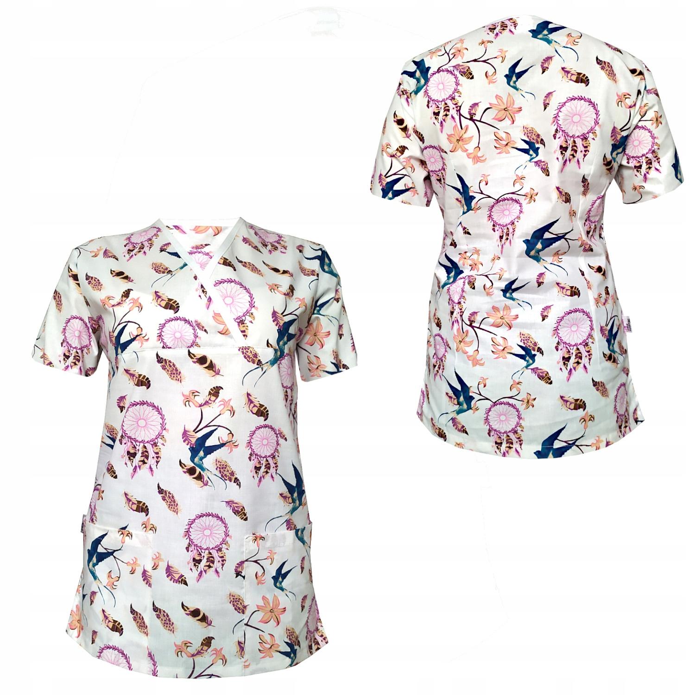 Bluza fartuszek medyczny damski we wzorek roz.S Rozmiar S