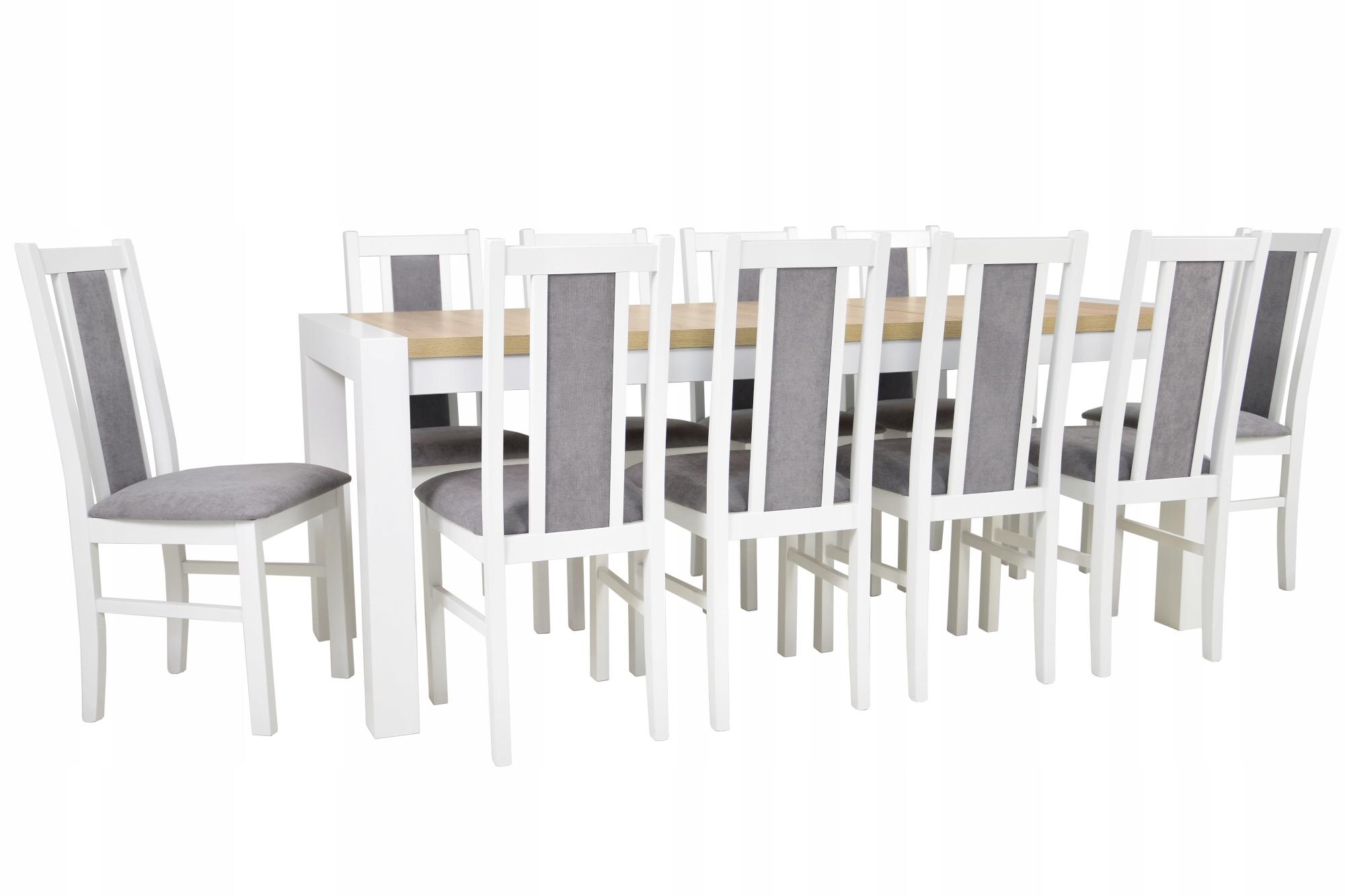 10 stoličiek + jedálenský stôl 90x160/230 cm