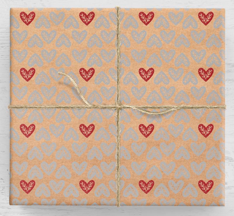 Ľudový darčekový baliaci papier srdiečko 10ar