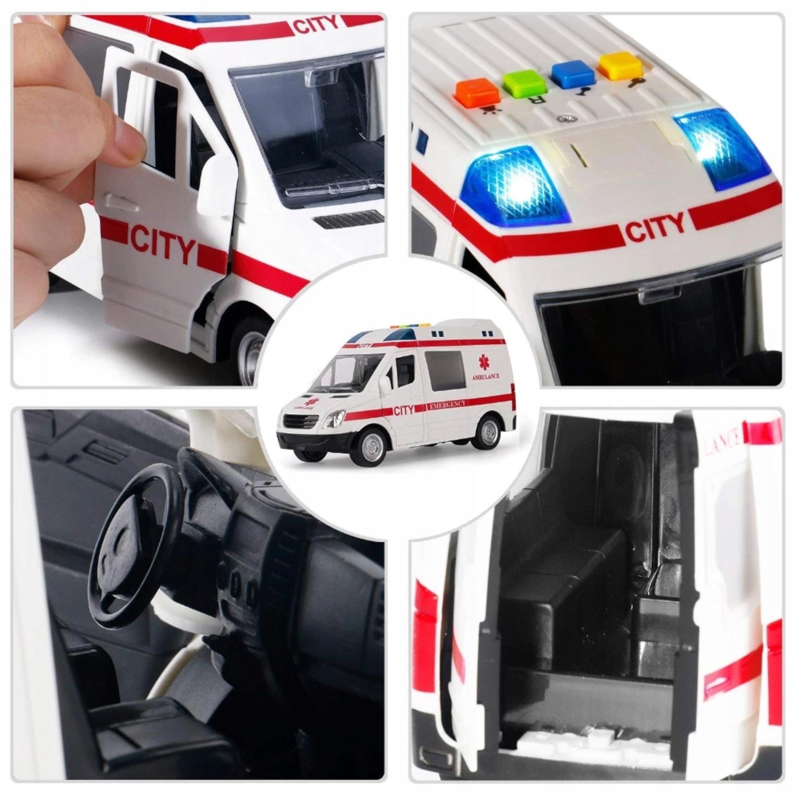Auto ambulans karetka otwierane drzwi 1:16 WY590A Długość produktu 22 cm