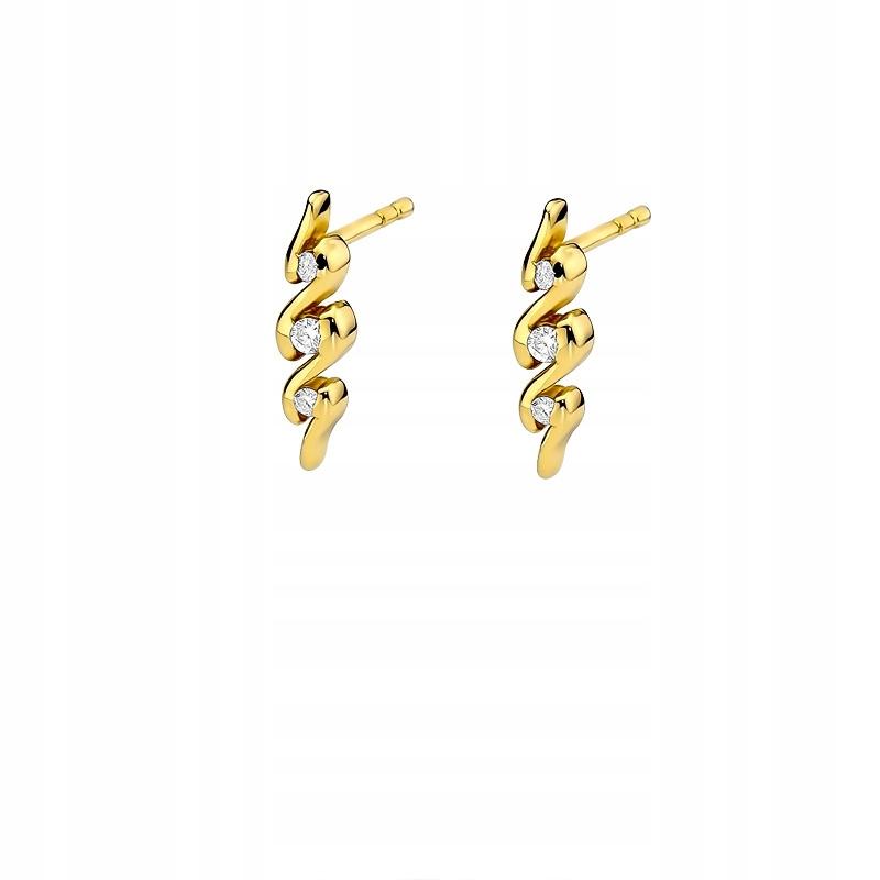 Zlaté náušnice s diamantmi 0.12 ct závitové skrutky
