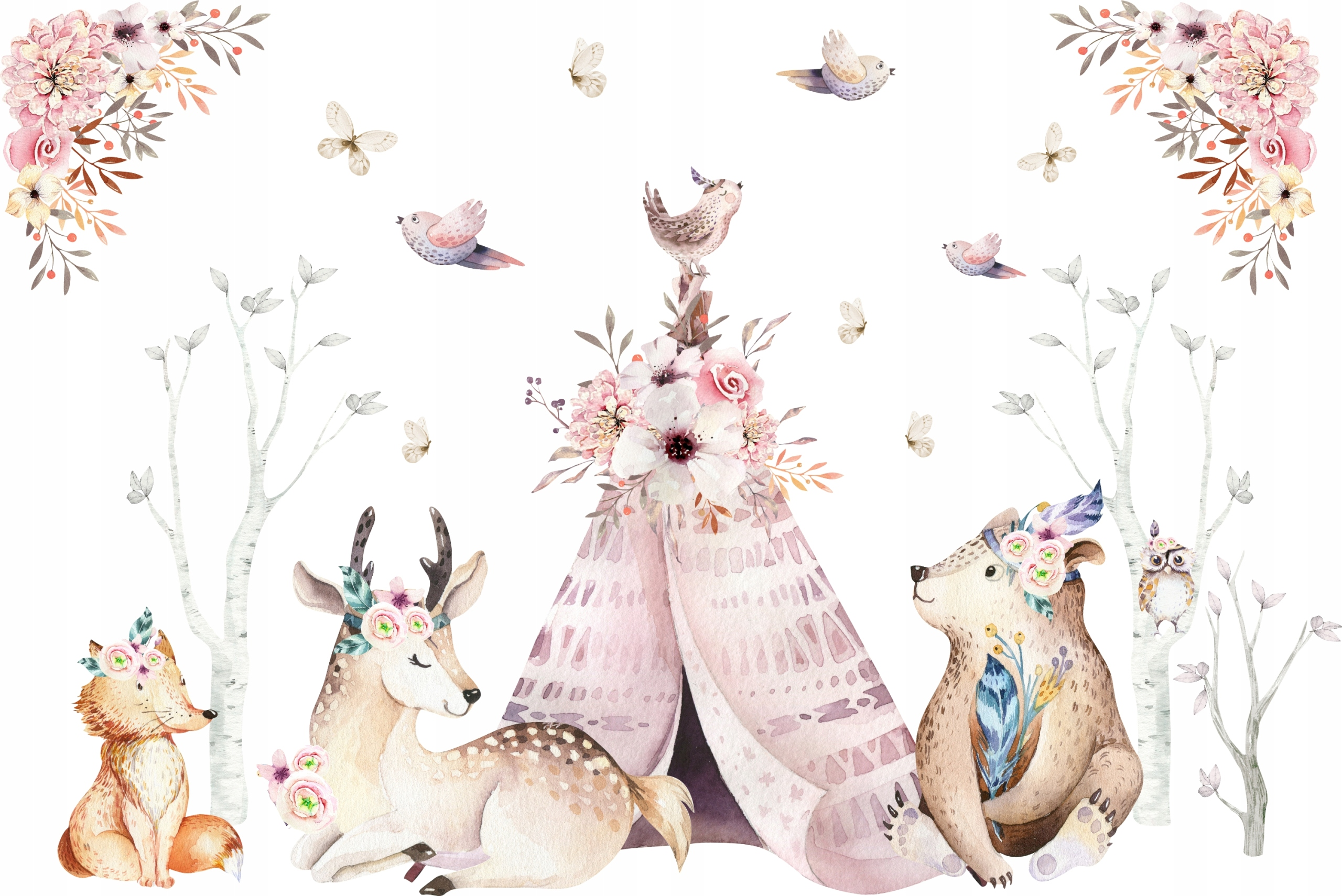 Наклейки на стену для детей Forest Animals Boho