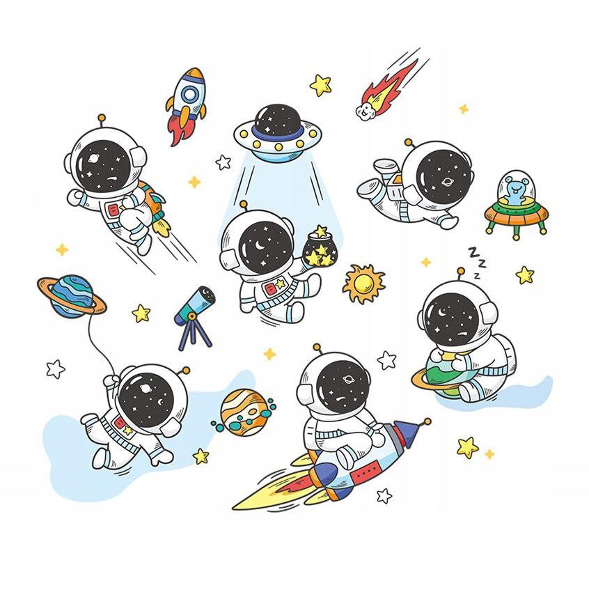 Настенная наклейка детская Космонавты и НЛО 94х85
