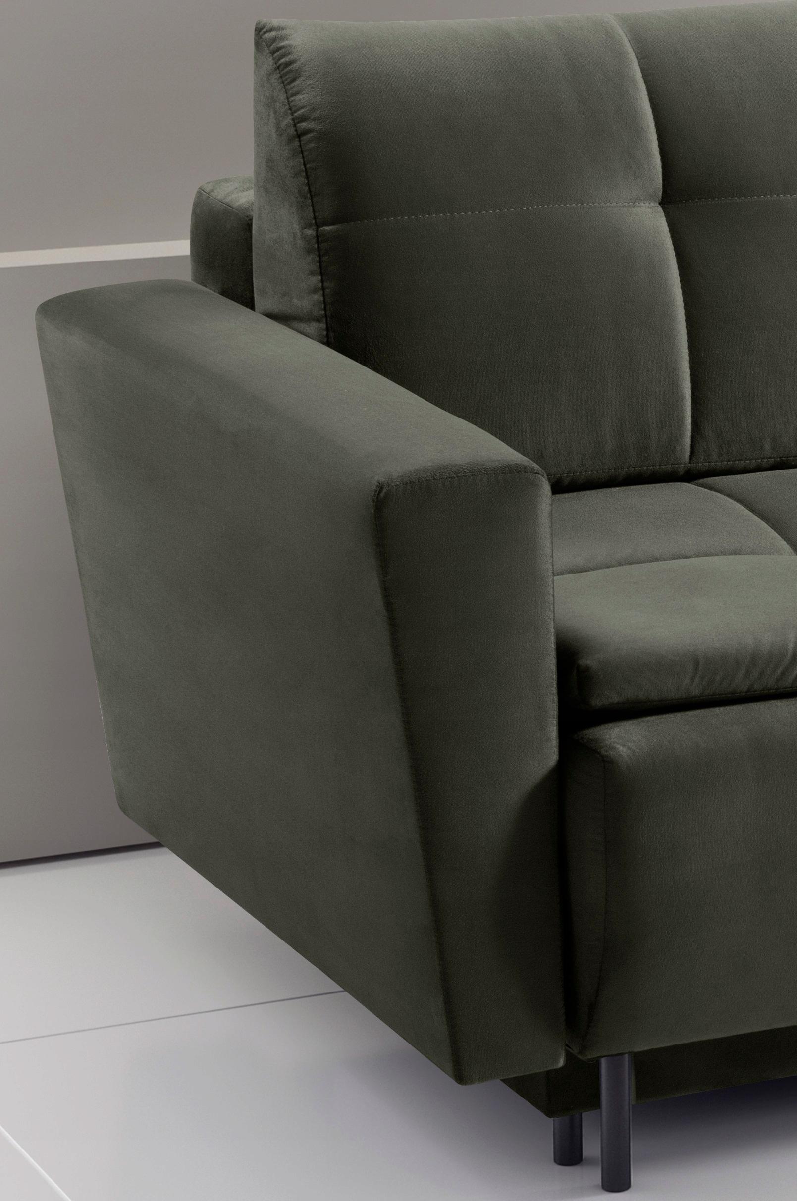 Großes Sofa SARA ausklappbares Schlafsofa - Farben Zusätzliche Informationen Schlaffunktion Armlehnen Bettwäschecontainer für lose Kissen