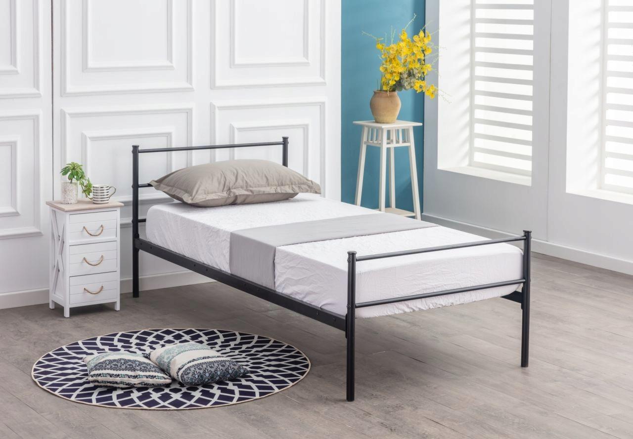 Kovová retro loftová posteľ 90 x 200 čierna + rám