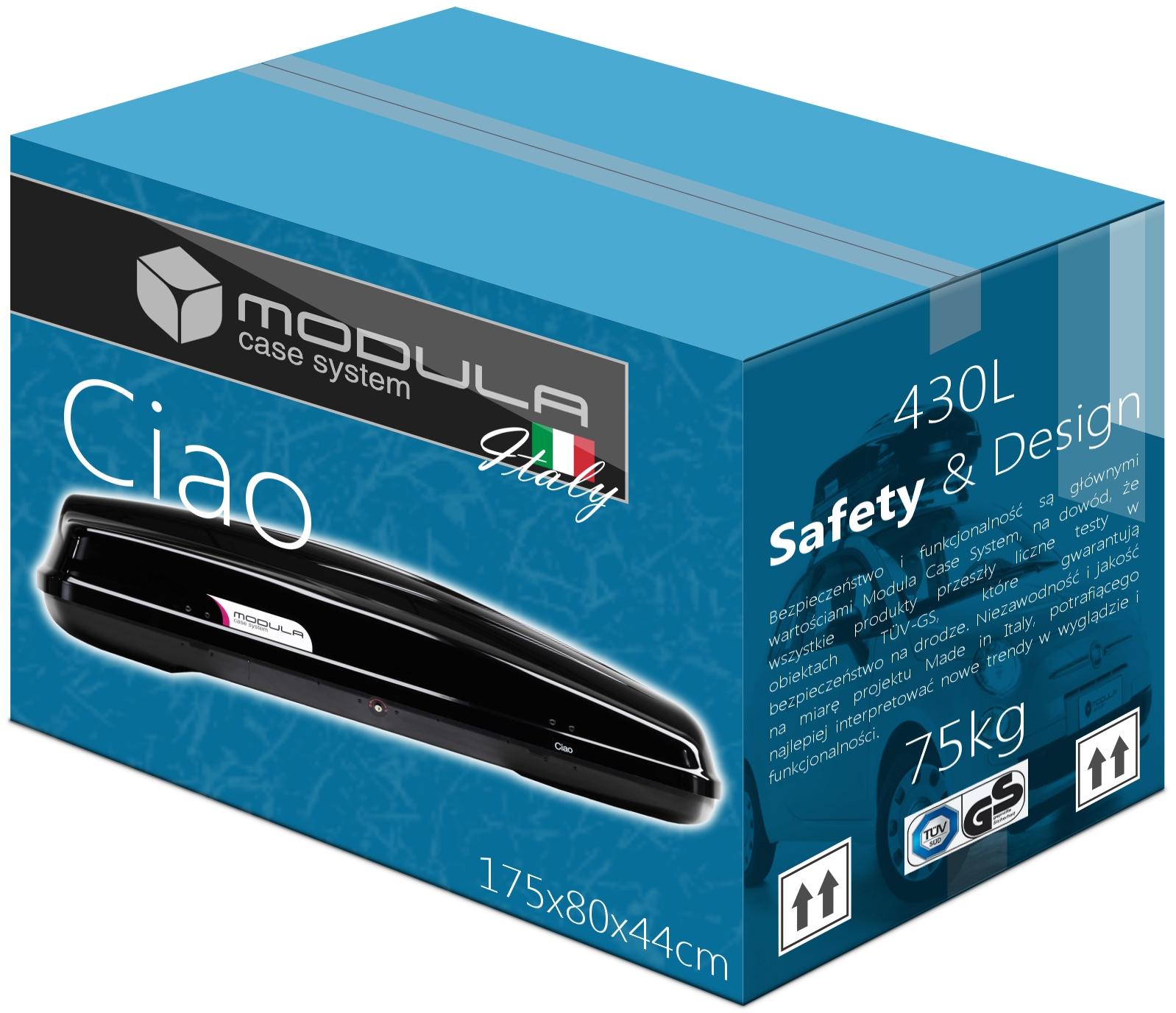 Bagażnik BOX Dachowy MODULA CIAO 430L 175x80x44cm