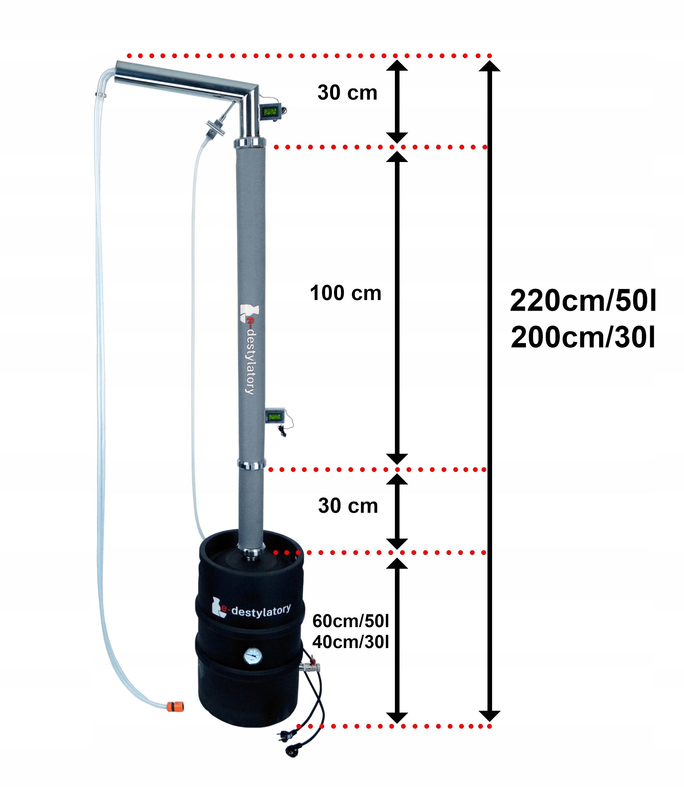 DESTYLATOR A ABRATEK KOLUMNA 160cm 3x SMS MIEDŹ Waga produktu z opakowaniem jednostkowym 14 kg