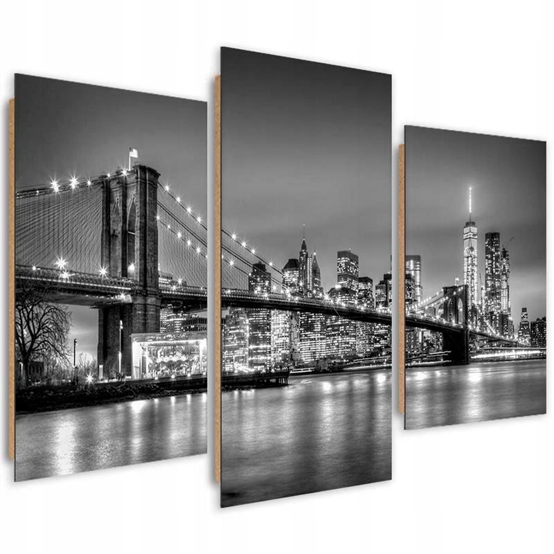 3D ИЗОБРАЖЕНИЕ Бруклинский мост из трех частей 60x40