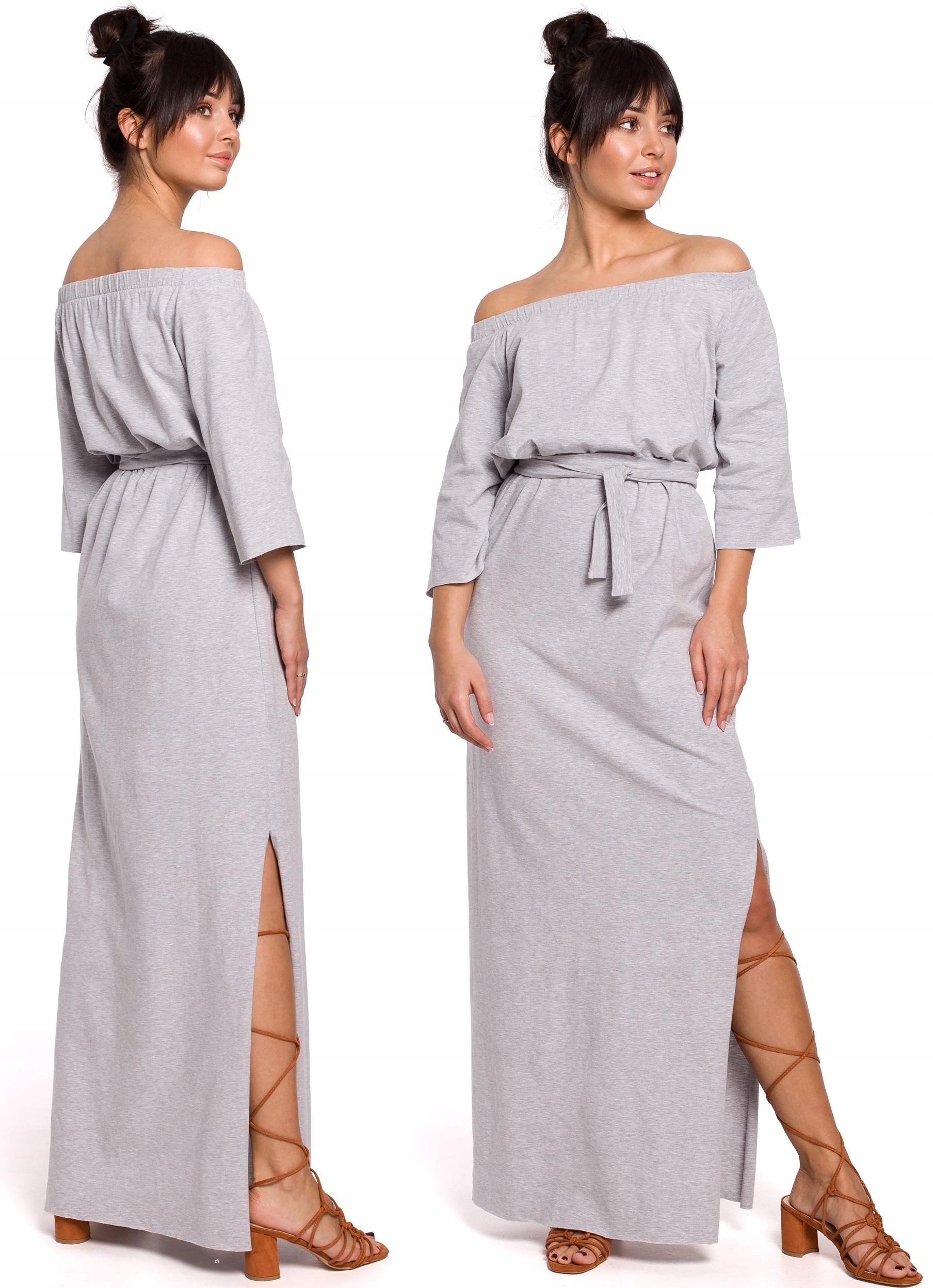 Długa Dresowa Sukienka Maxi Z Odkrytymi Ramionami