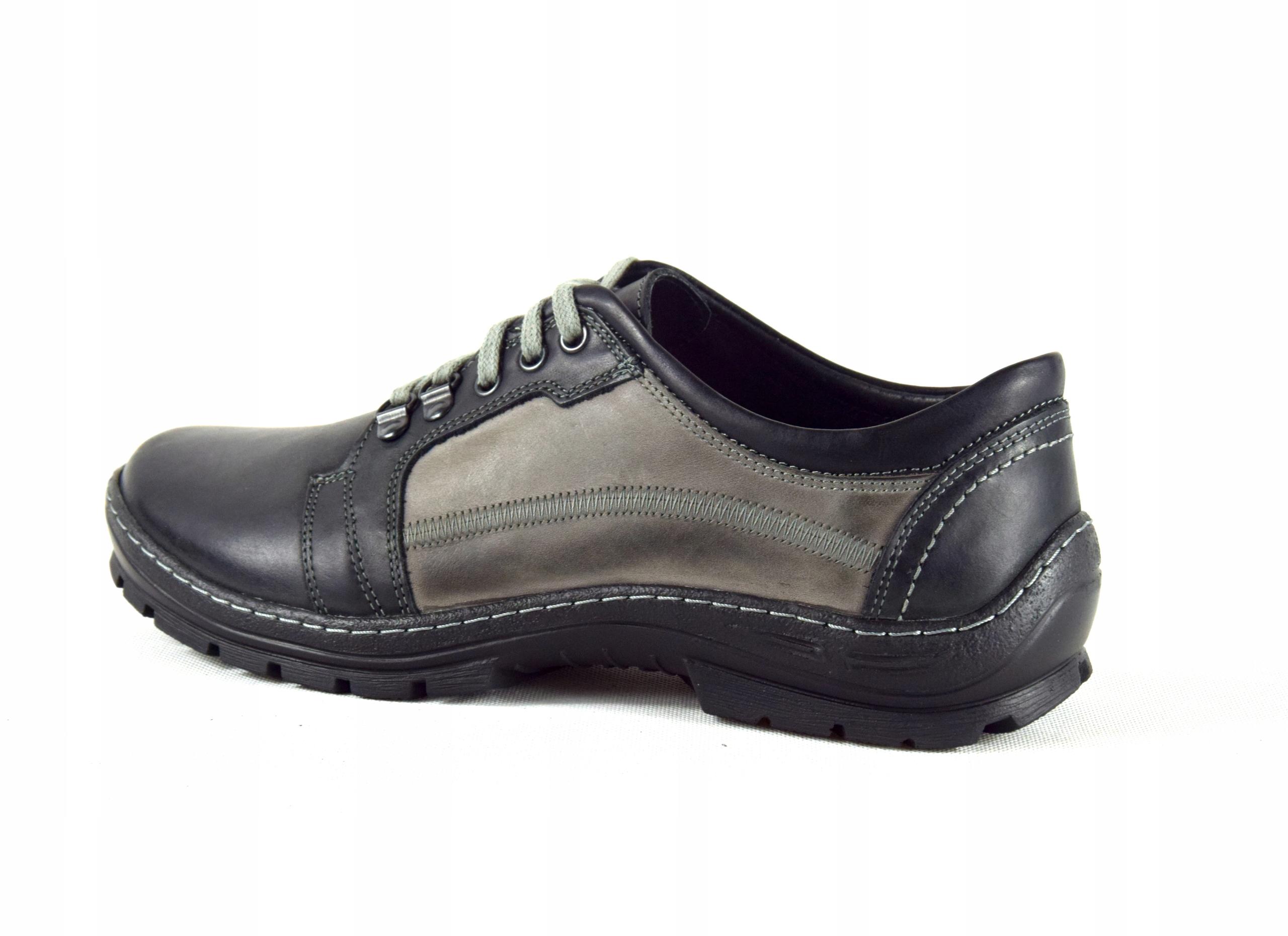 Półbuty trekkingowe męskie buty skórzane PL 192 Kolor czarny szary
