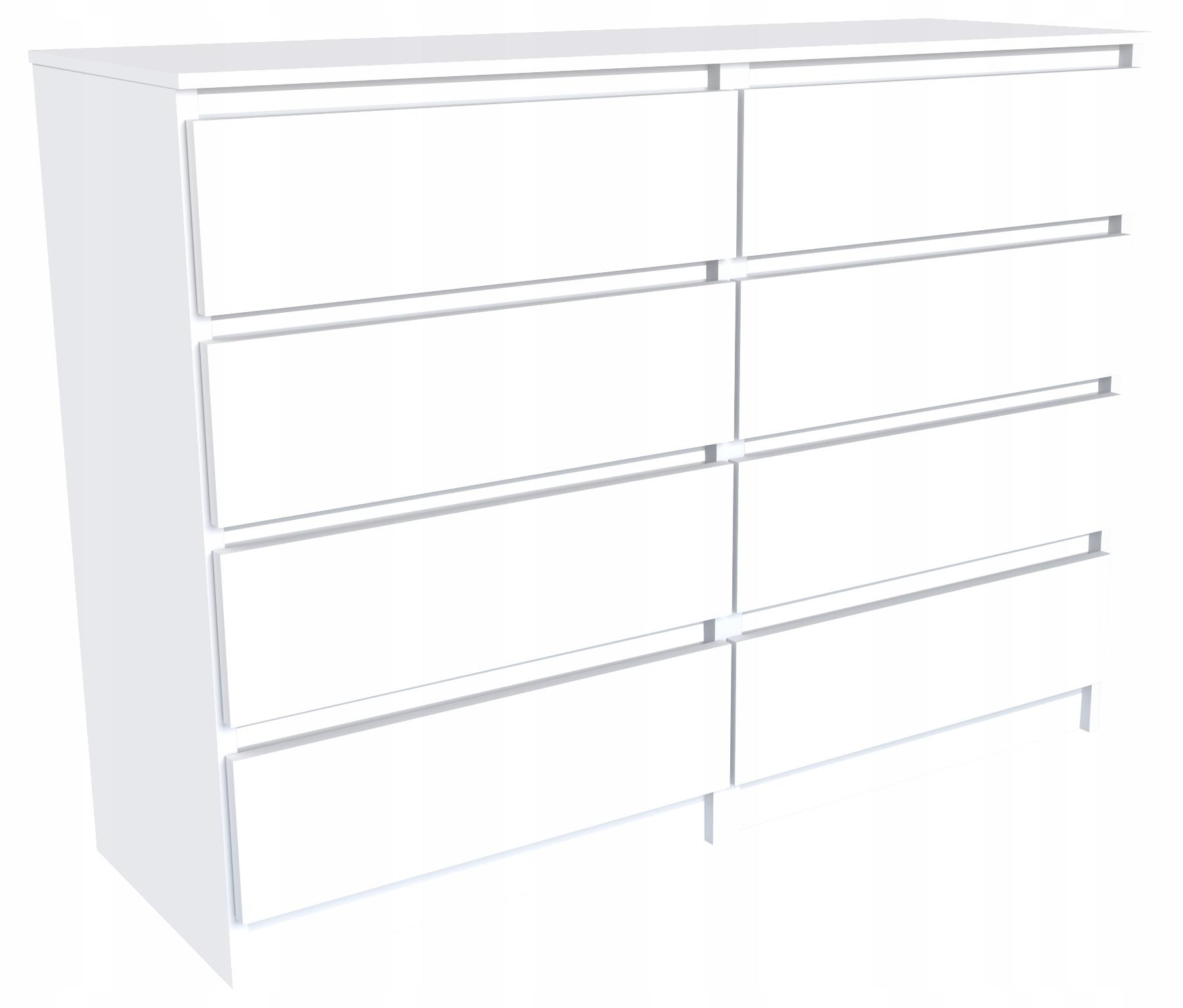 Комод 120 см, 8 ящиков, шкаф, стол, белый матовый