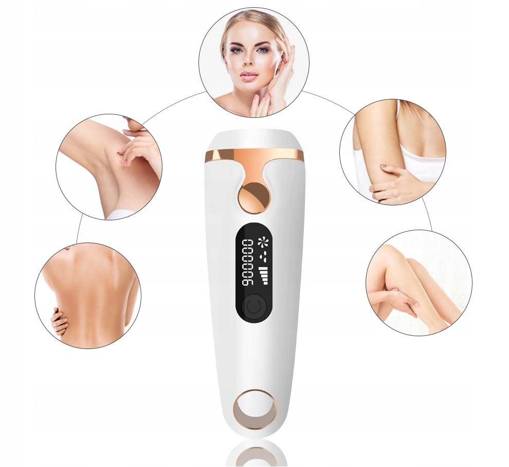 DEPILATOR LASEROWY IPL DO WŁOSÓW MOCNY Funkcje golenie regulacja prędkości czujnik kontaktu ze skórą