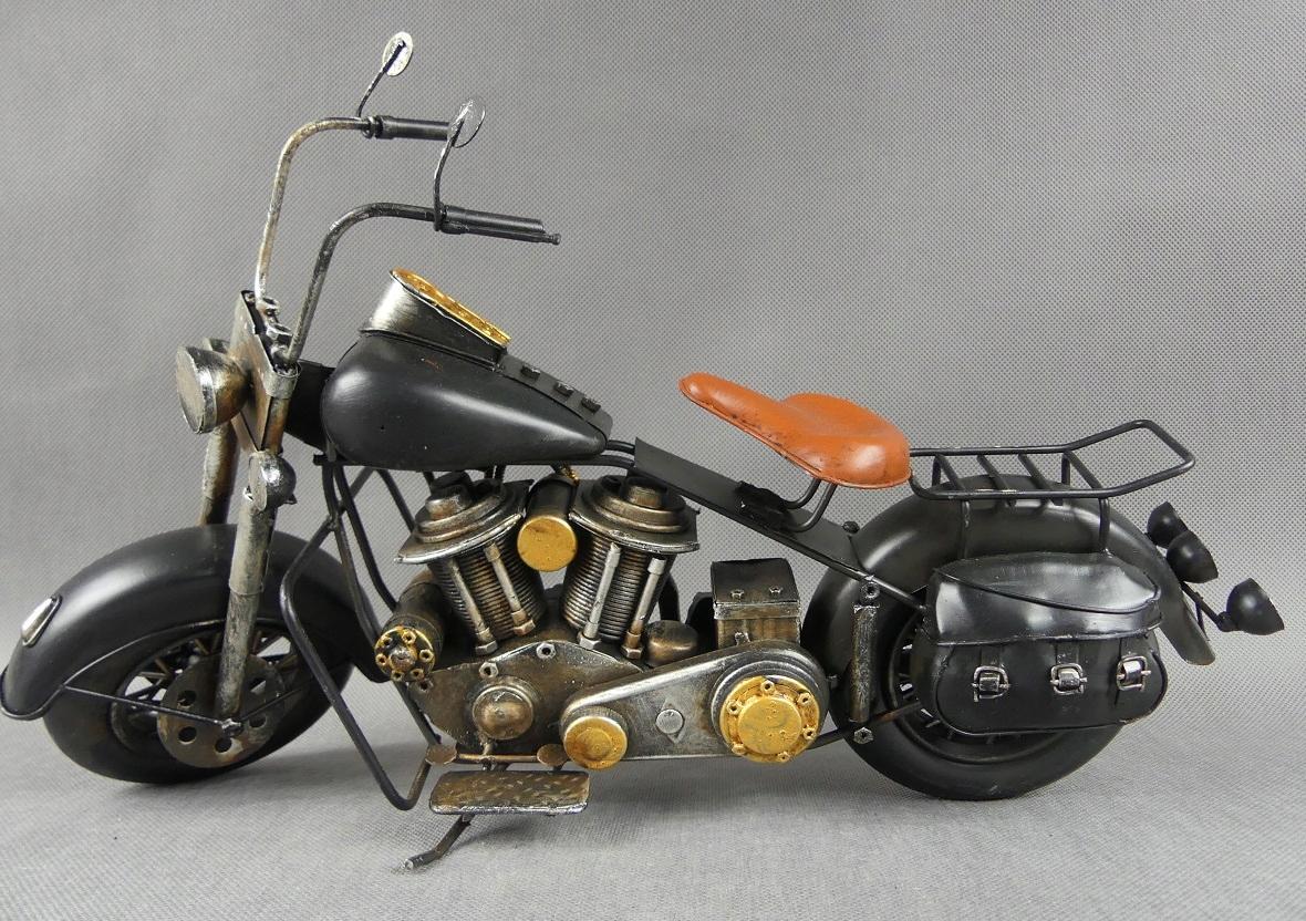 Kovový čierny MOTOR retro vozidlo 41,5 cm motocykel