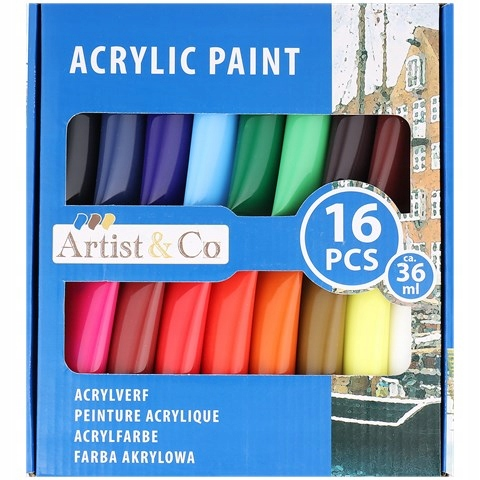 Farby AKRYLOWE zestaw farb 16szt x 36 ml + GRATIS