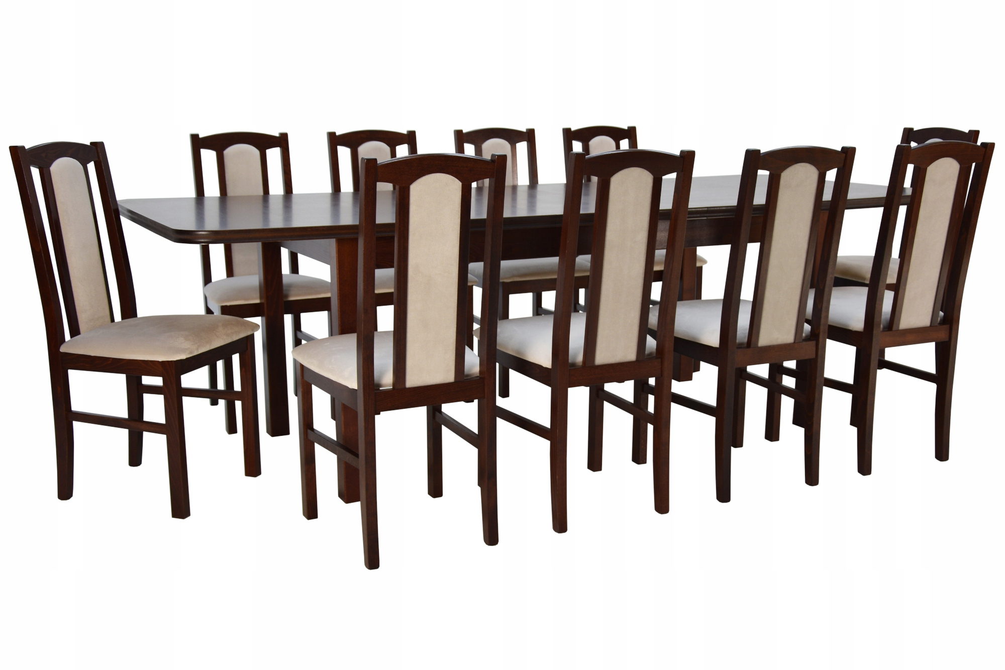 10 stoličky vyrobené z dreva+ posuvné tabuľka 100x200/300 cm