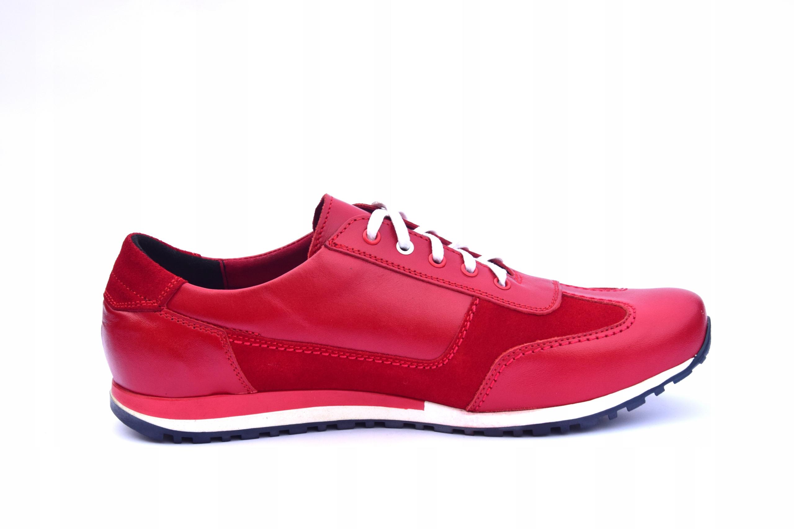 Buty skórzane czerwone obuwie ze skóry PL 294 Materiał zewnętrzny skóra naturalna
