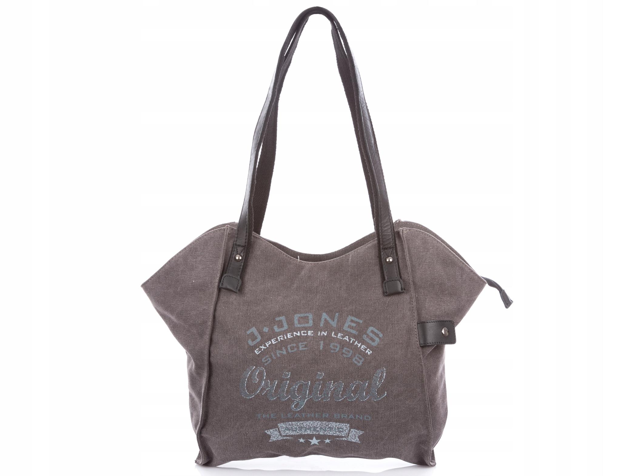 Taška kabelka žien vintage šedá plátno + kožené