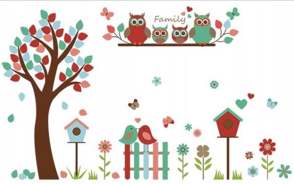 Наклейки на стены и окна - совы, деревья, птицы