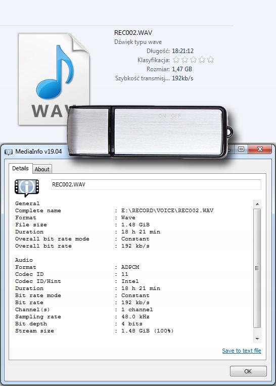 MINI DYKTAFON PENDRIVE PODSŁUCH SZPIEGOWSKI USB Aktywacja nagrywania głosem brak informacji