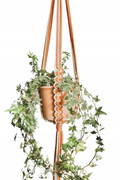 Клумба на веревочке Роза - макраме