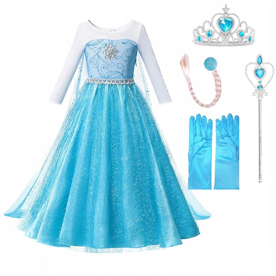ELSA DRESS Elza Frozen 122 128 5 - 6 rokov