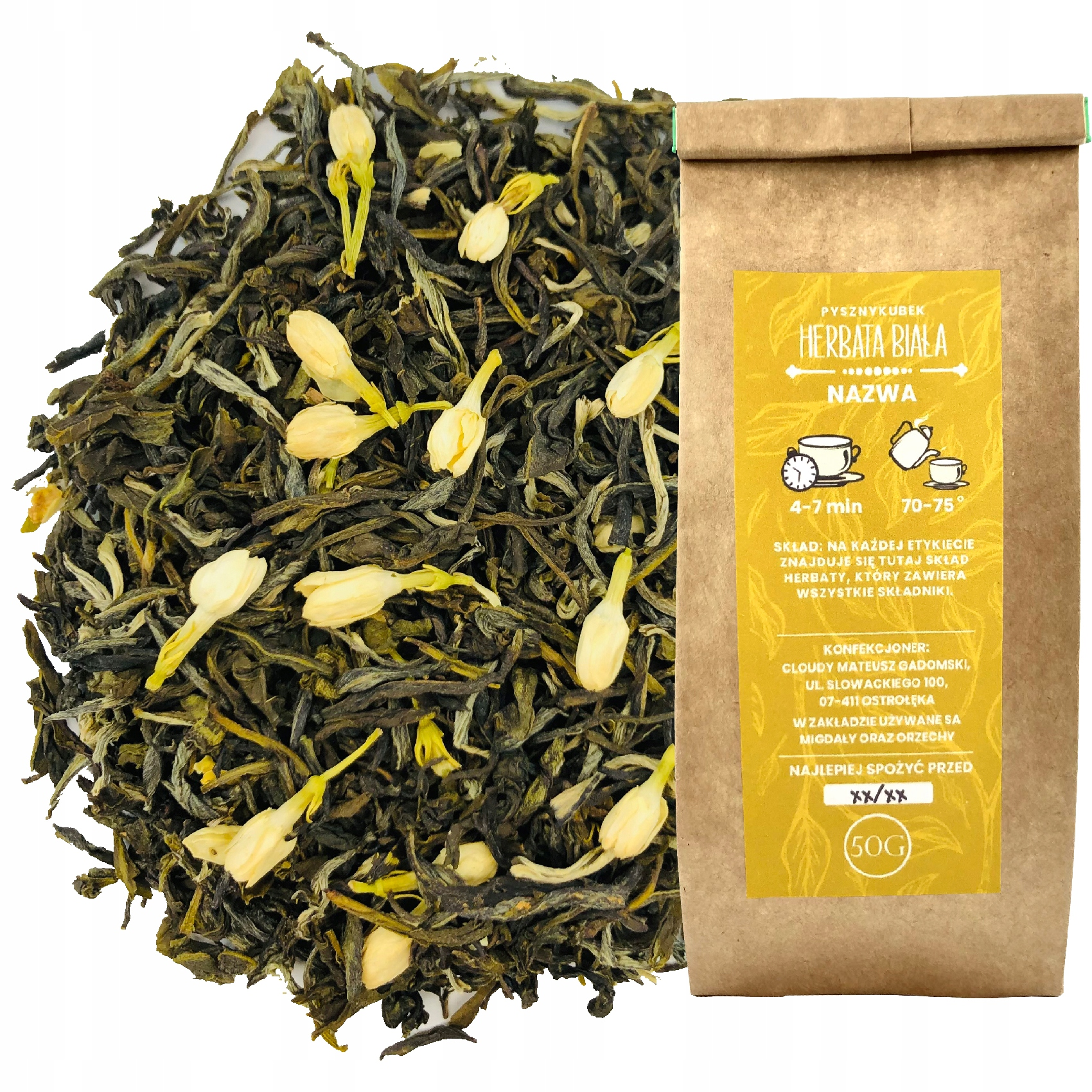 Белый чай FUJIAN WHITE JASMINE 50G жасмин