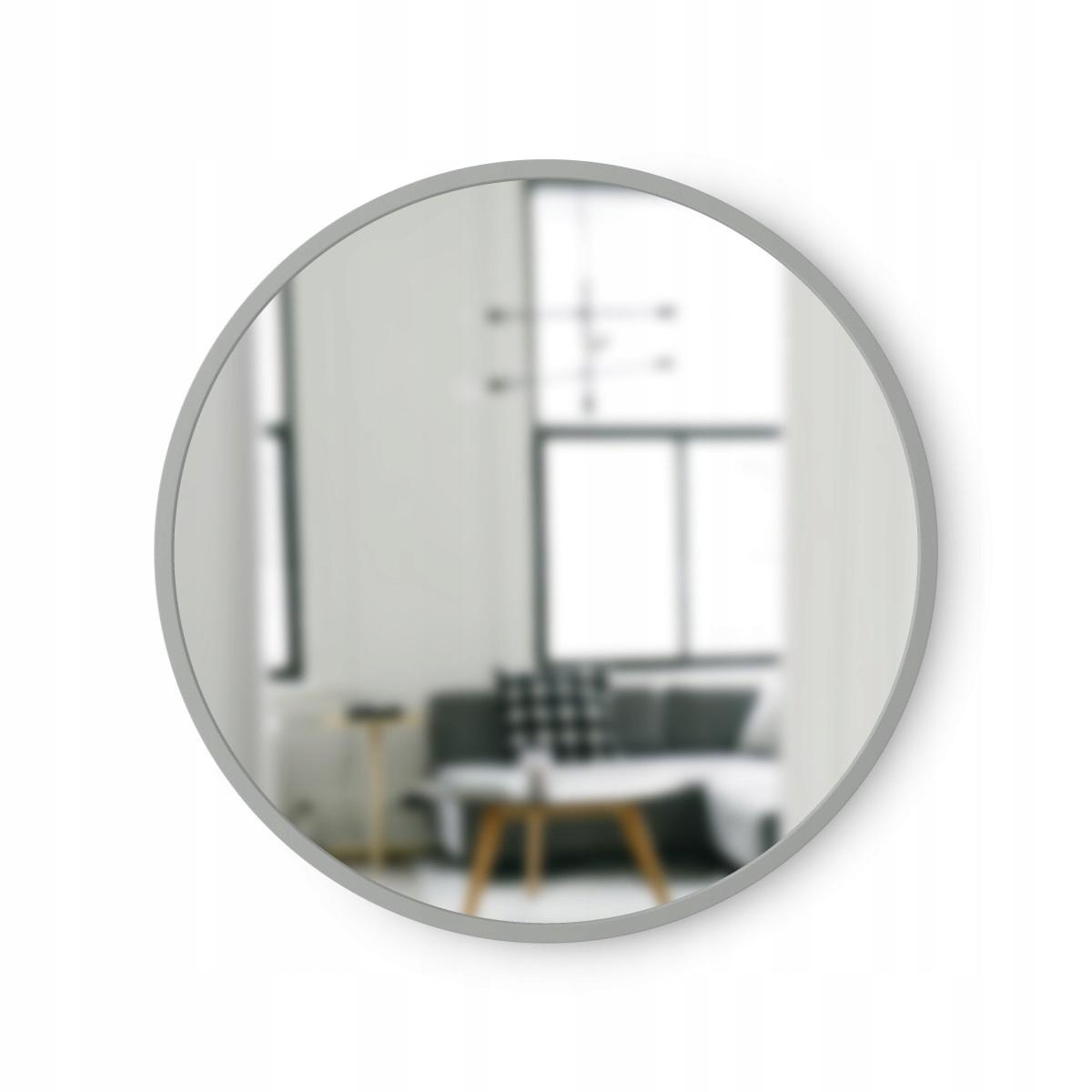 Lustro Łazienkowe Okrągłe Ścienne Szare 46 cm