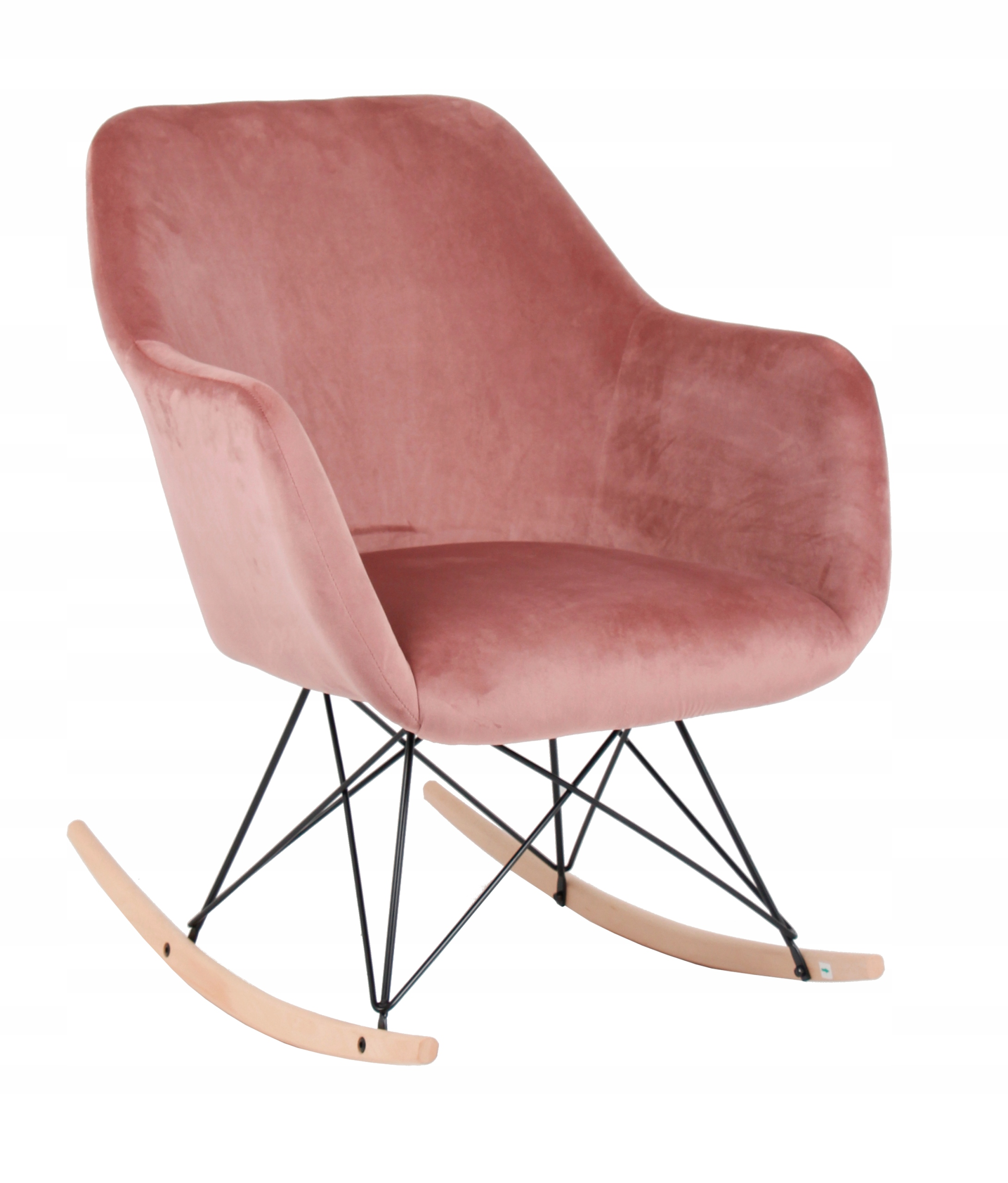 Fotel bujany, tapicerowany Paul velvet różowy