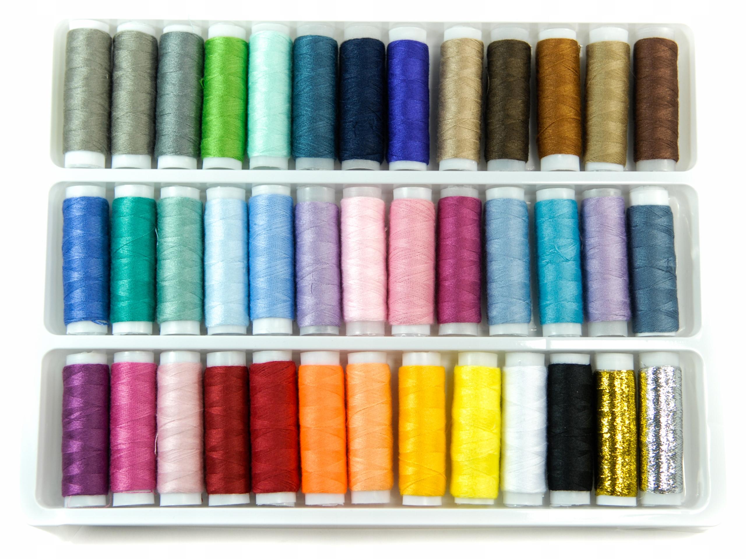 ZESTAW NICI 39 kolorów do szycia nitki krawiecki
