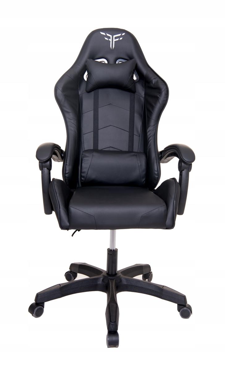 Поворотное игровое кресло-ковш для игрового офиса. Цвет обивки: черный.