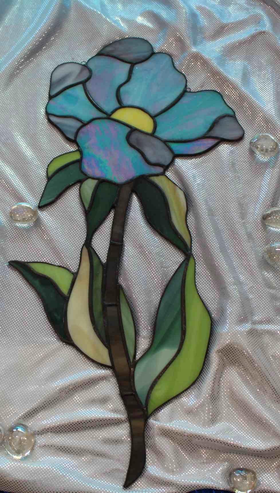 Цветочный витраж Тиффани Голубой 2