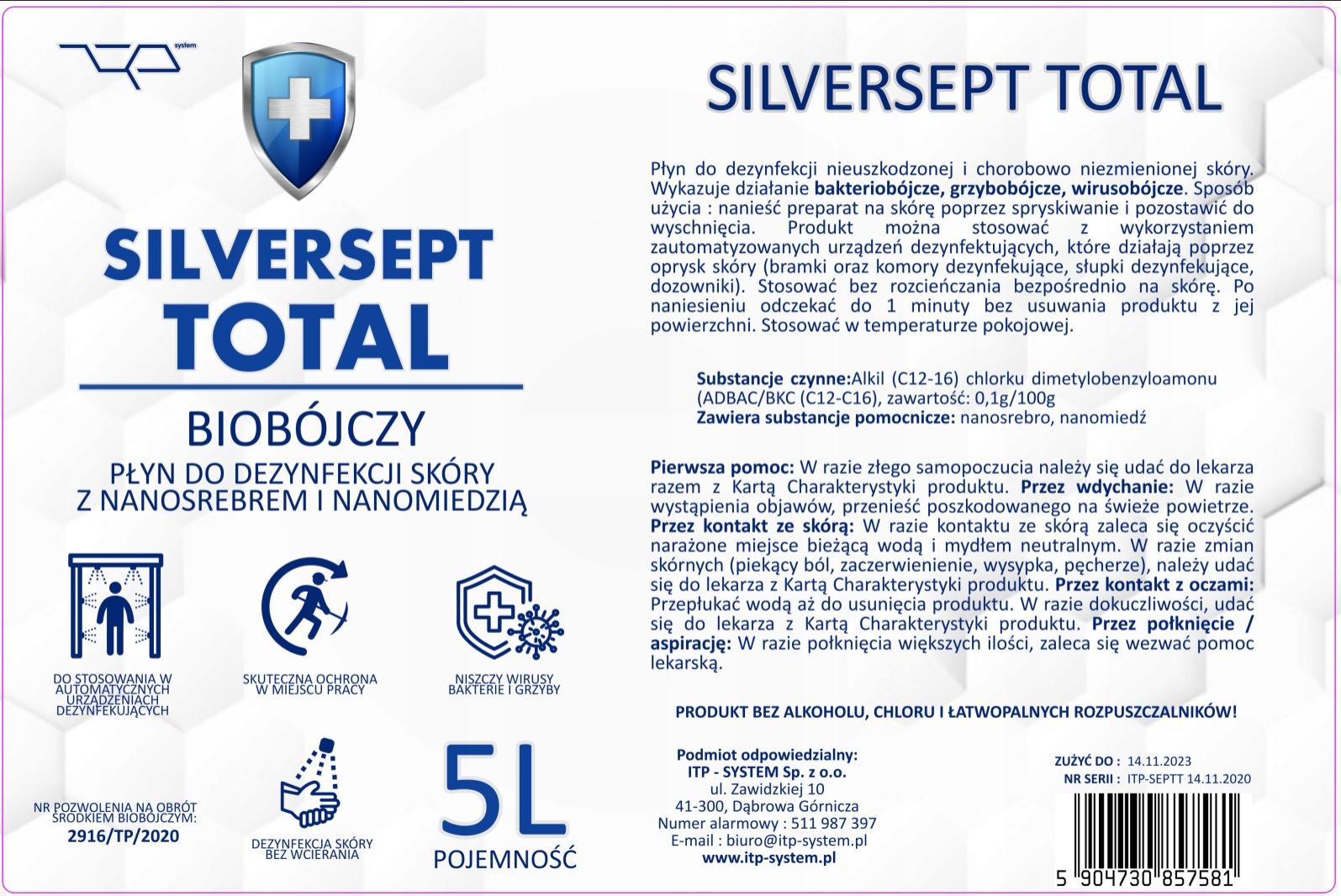 Silversept TOTAL płyn do dezynfekcji do bram,komór Producent ITP