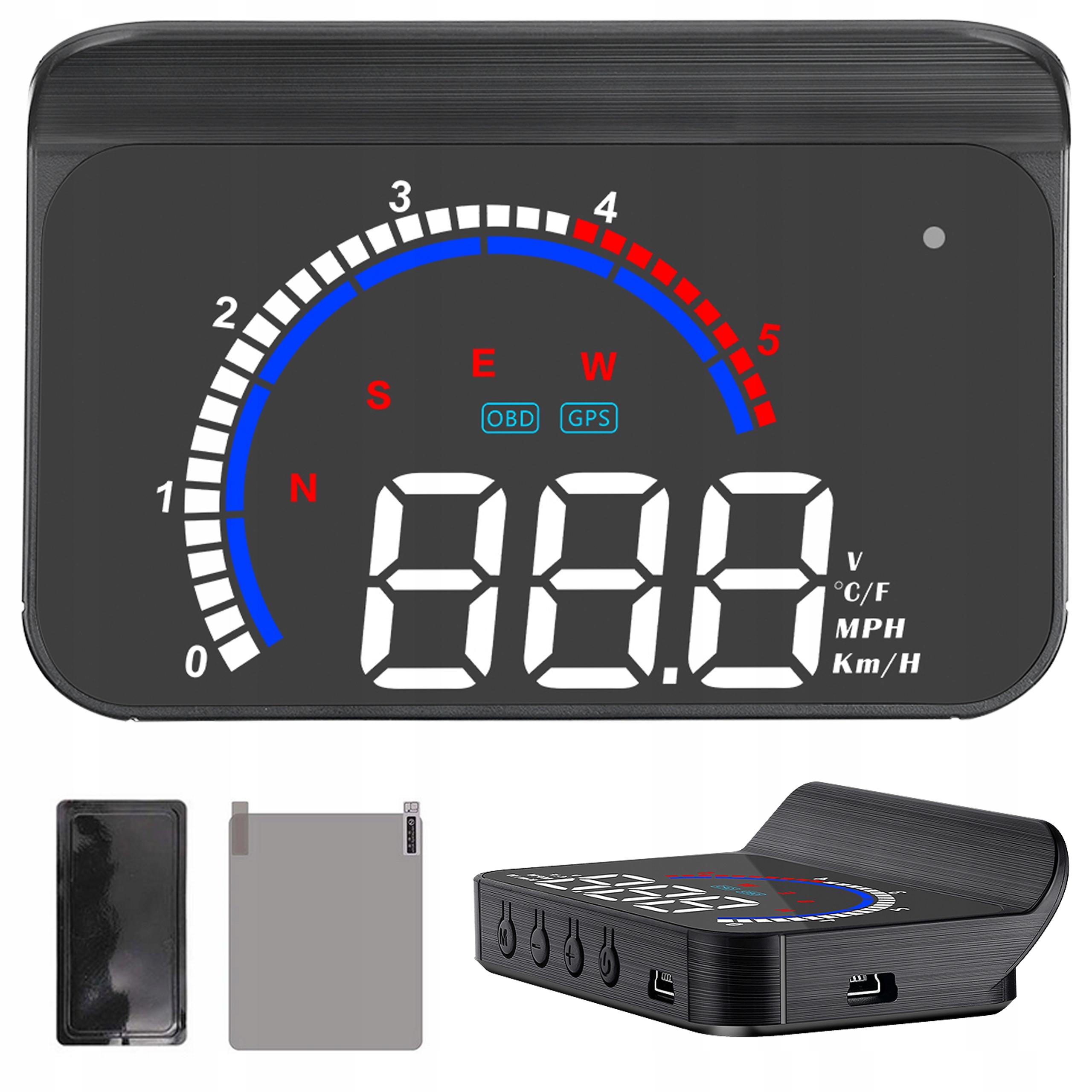 WYŚWIETLACZ PROJEKTOR LED LCD HUD OBD2 GPS USB M13