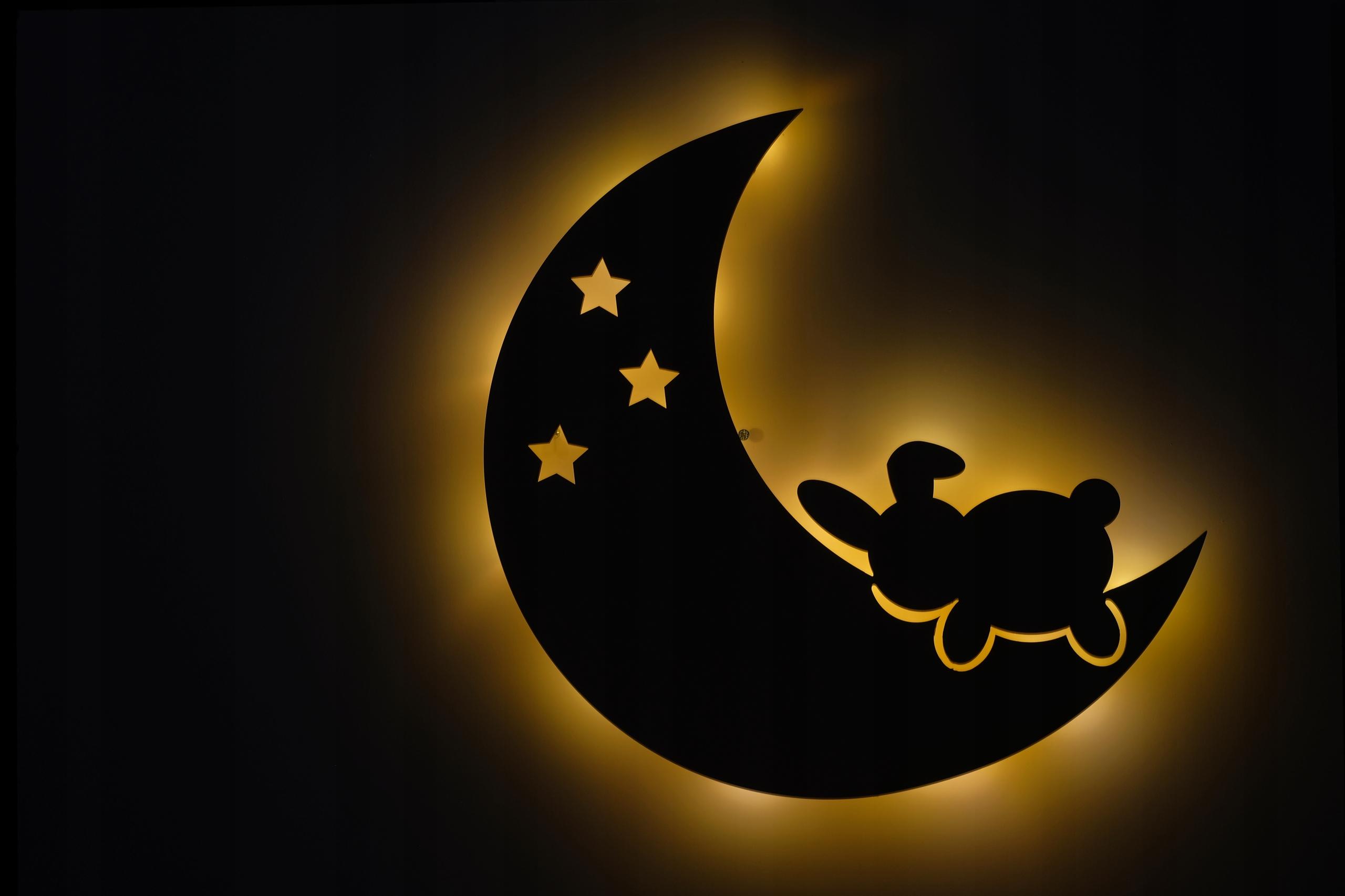 Lampka dla dzieci LED księżyc Królik Baterie AA