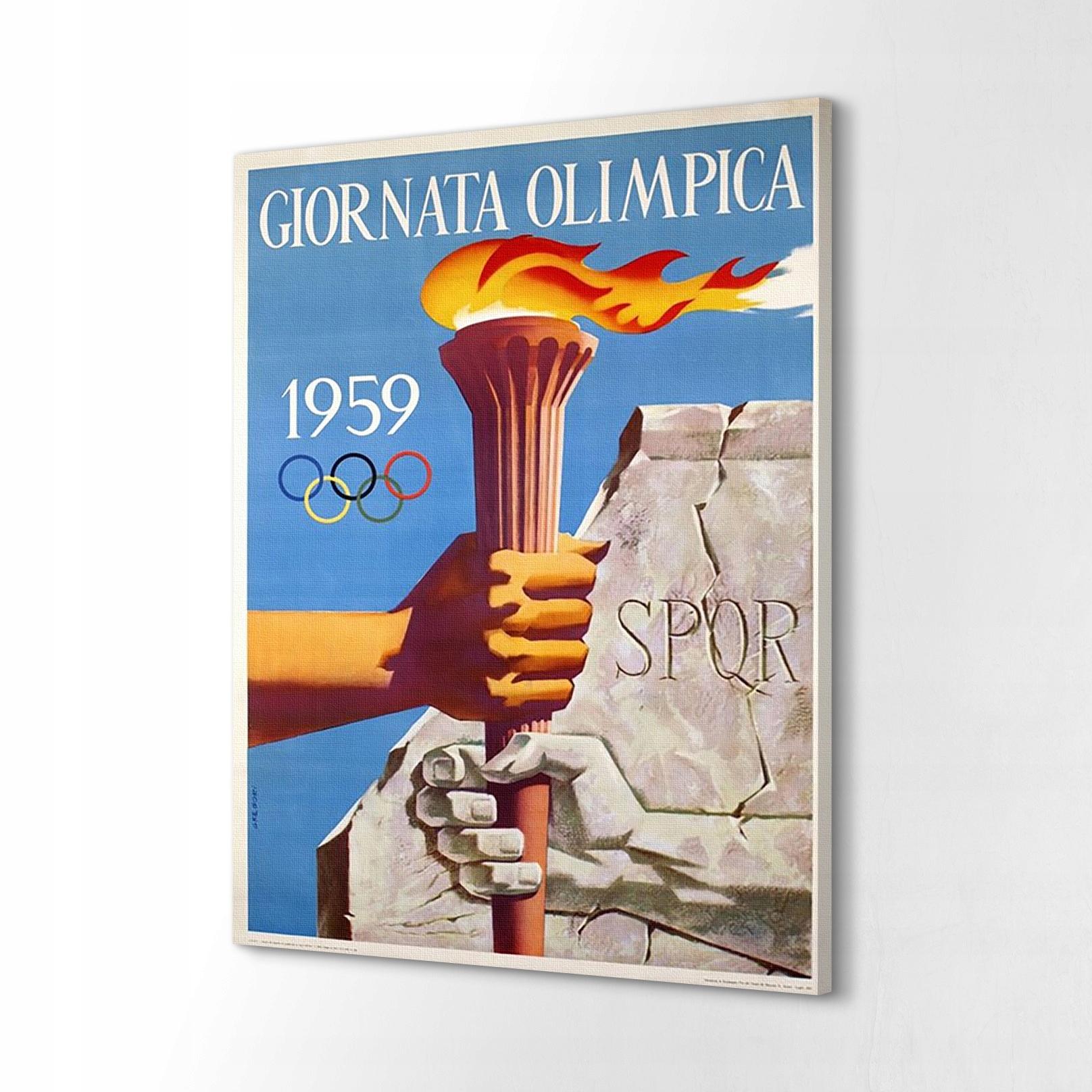 Maľba na plátne 40x60 Retro plagát Giornata Olimpica