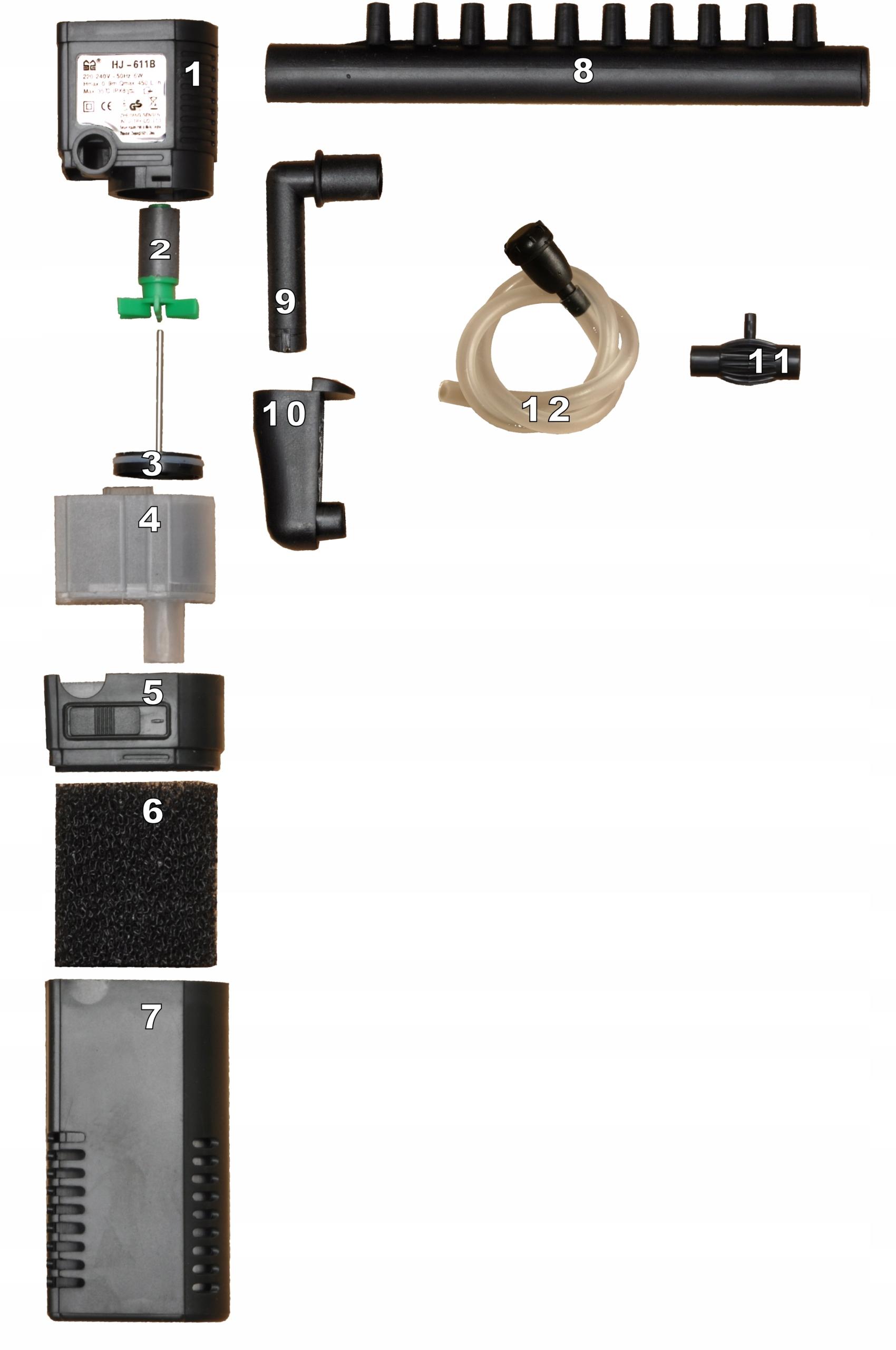 HJ-611B аквариум фильтр 50-80l 450L/ч рот углерода EAN 6955974958090
