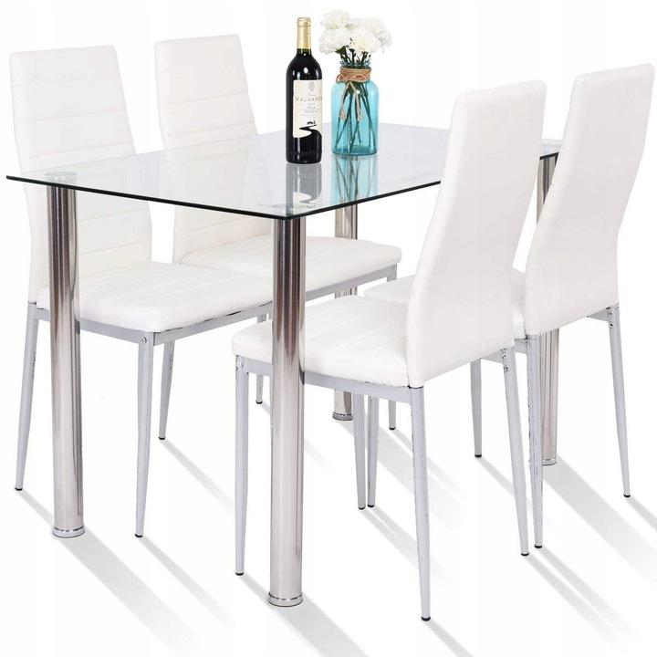 Stół szklany mleczny biały 120x80 plus 4 KRZESŁA