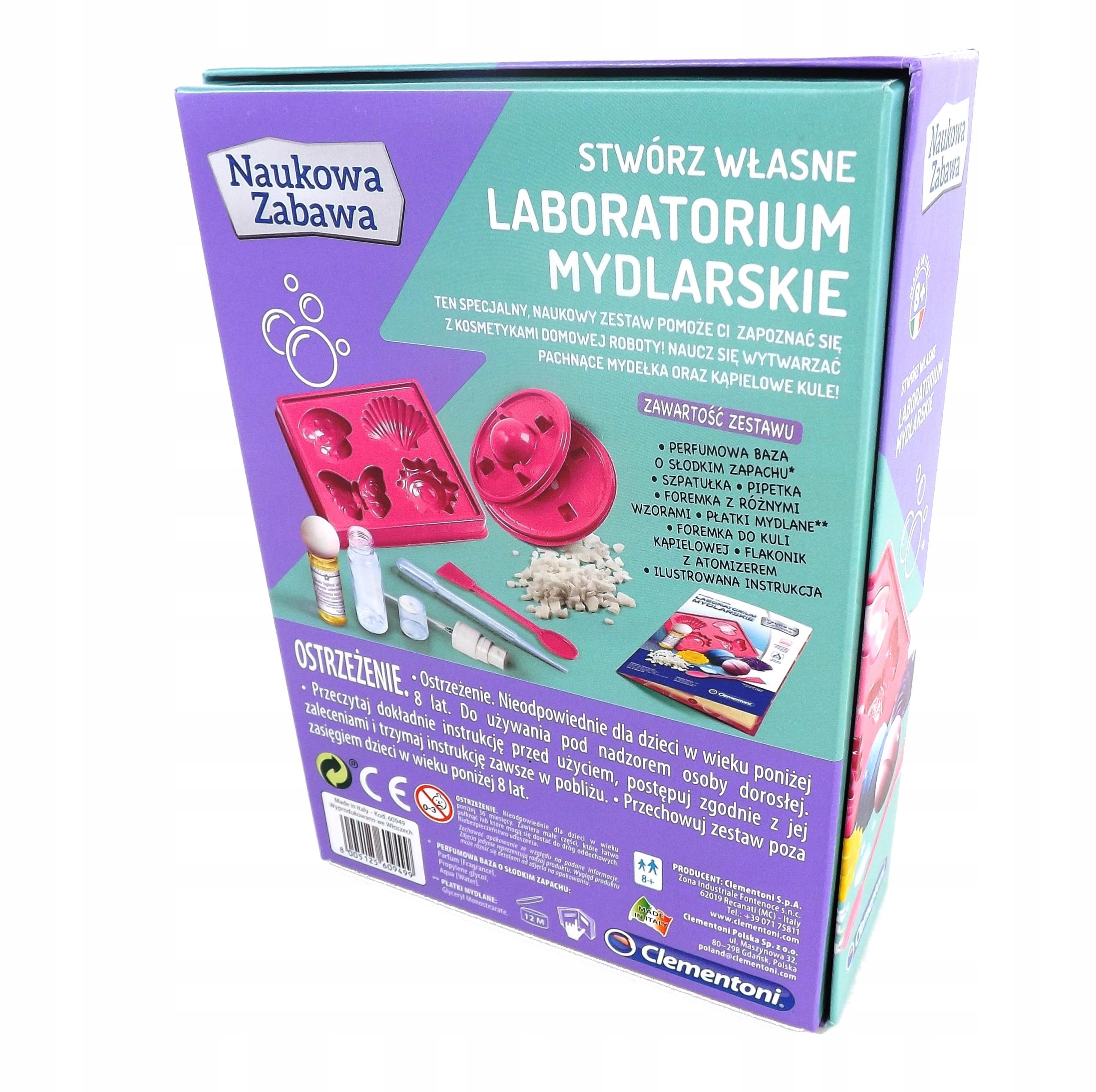 Stwórz laboratorium mydlarskie Clementoni 60949 Wiek dziecka 8 lat +
