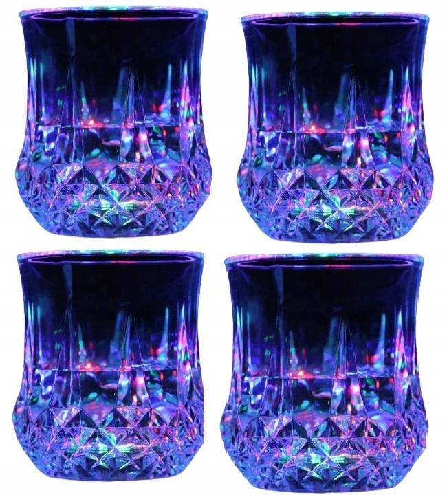 ZESTAW 4 x ŚWIECĄCA SZKLANKA LED RGB DRINK WHISKY