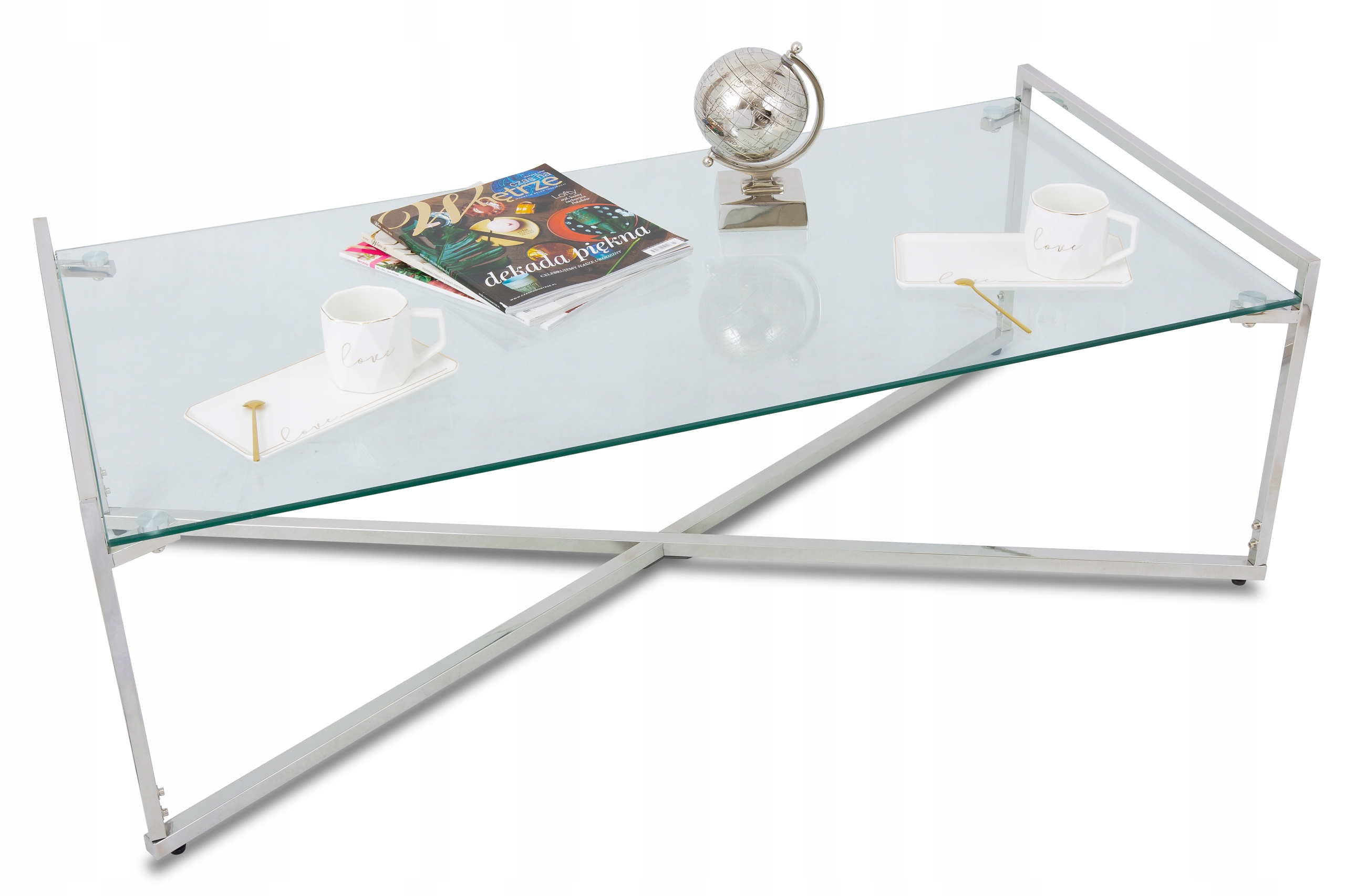 декоративный журнальный столик прямоугольный гламур серебро