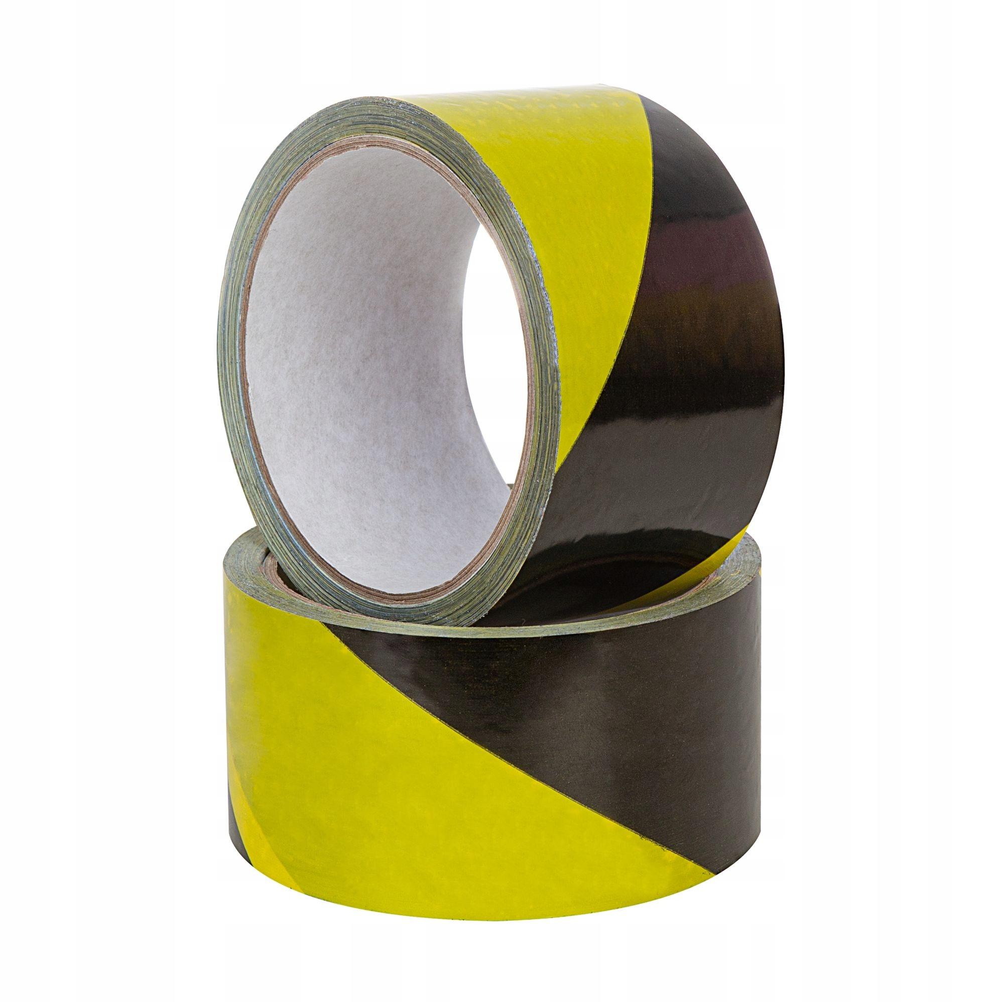 Черная желтая предупреждающая лента 75 мм x 90 м
