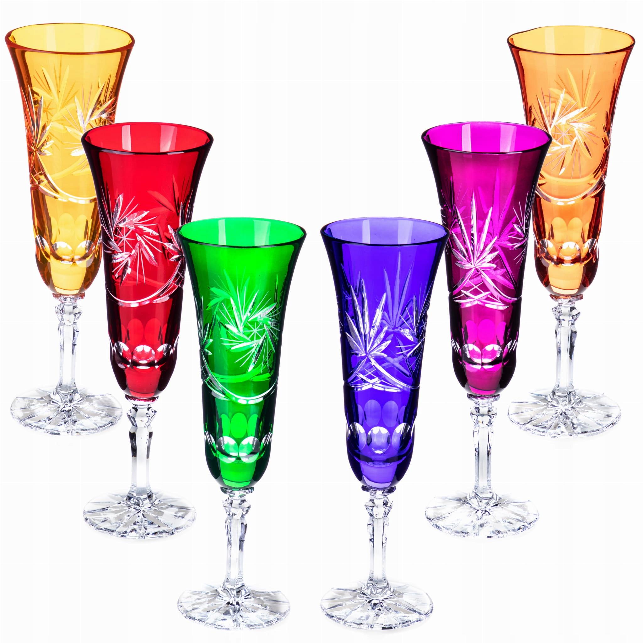 Sada 6 farebných retro krištáľových pohárov