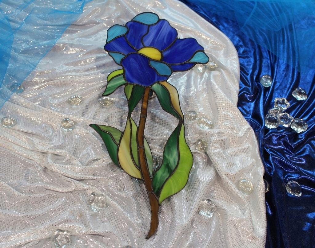 Цветочный витраж Тиффани Синий Кобальт